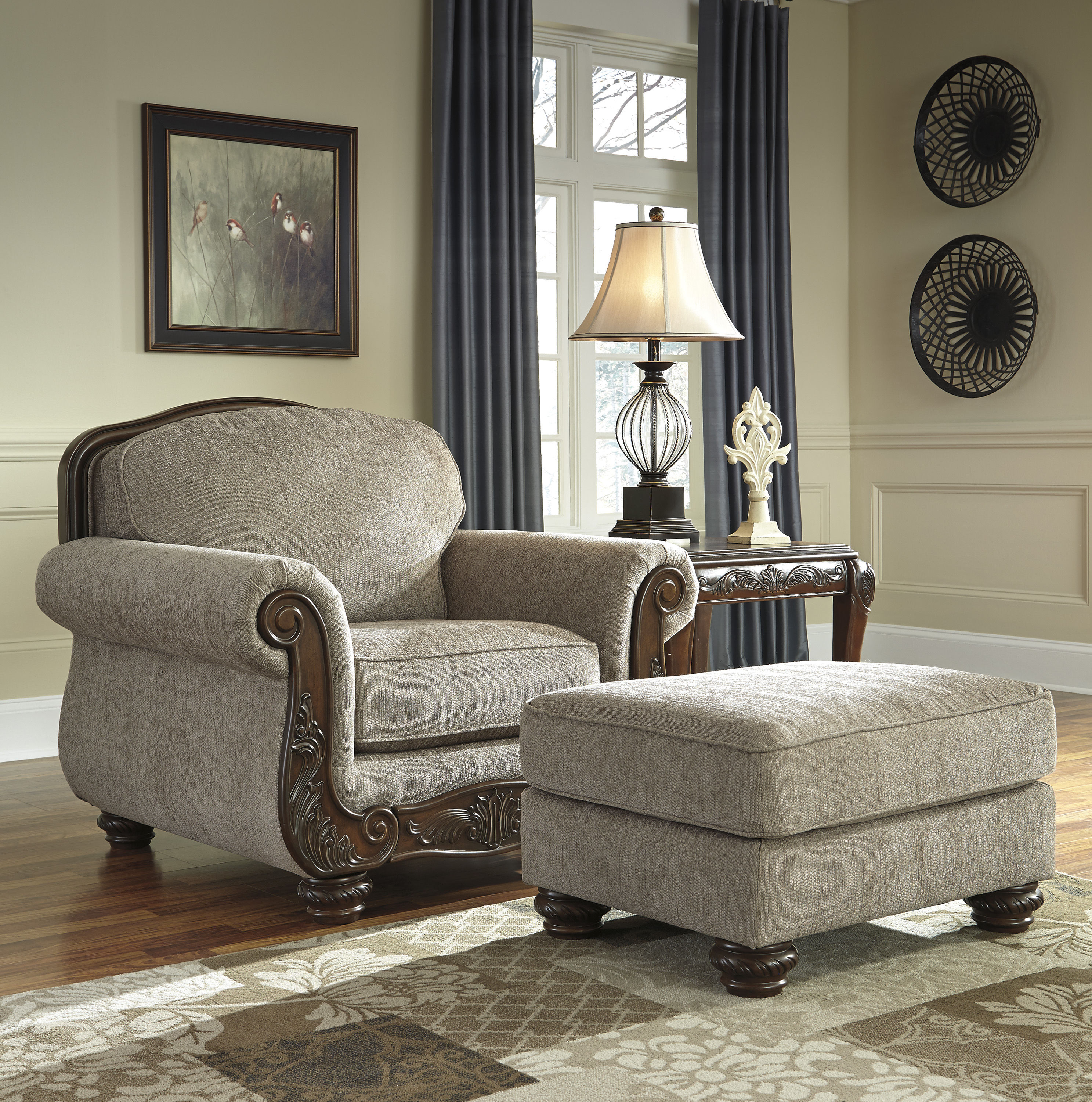 Bedroom Chairs And Ottomans: Ashley Furniture Cecilyn Cocoa Chair And Ottomans Set