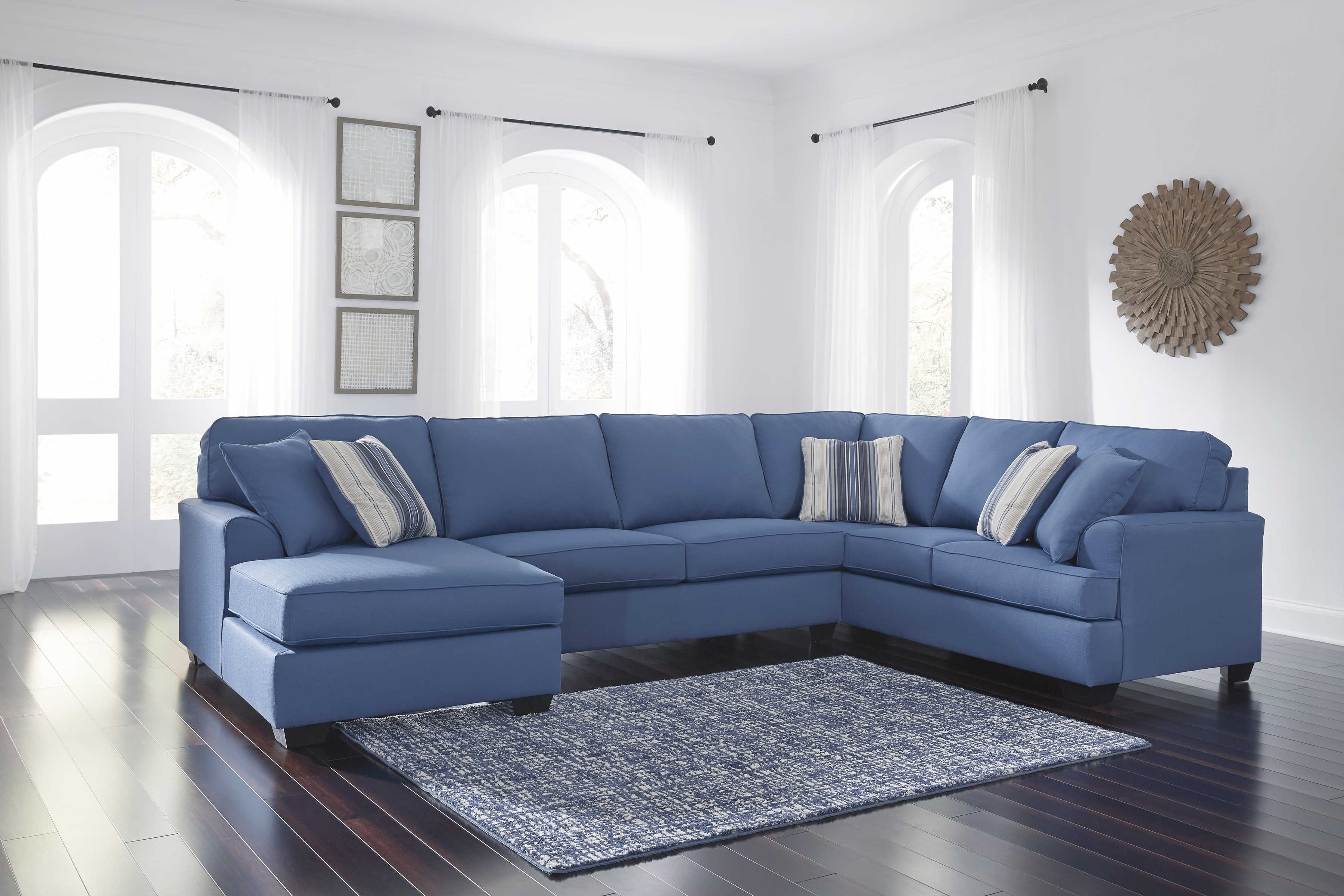 Ashley Furniture Brioni Nuvella Blue Laf Chaise Sectional The Classy Home