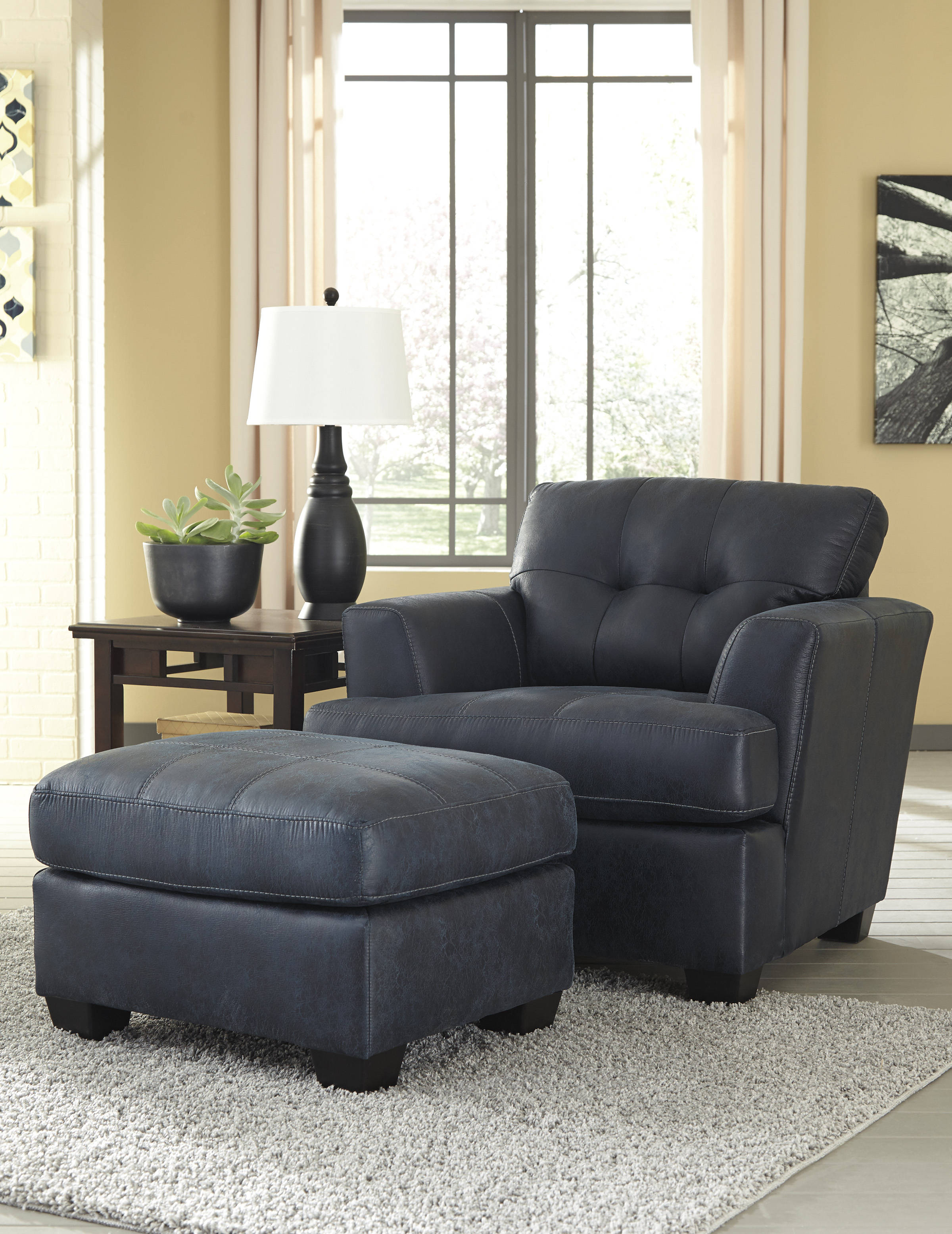 Ashley Furniture Inmon Navy Chair And Ottomans Set The Classy Home
