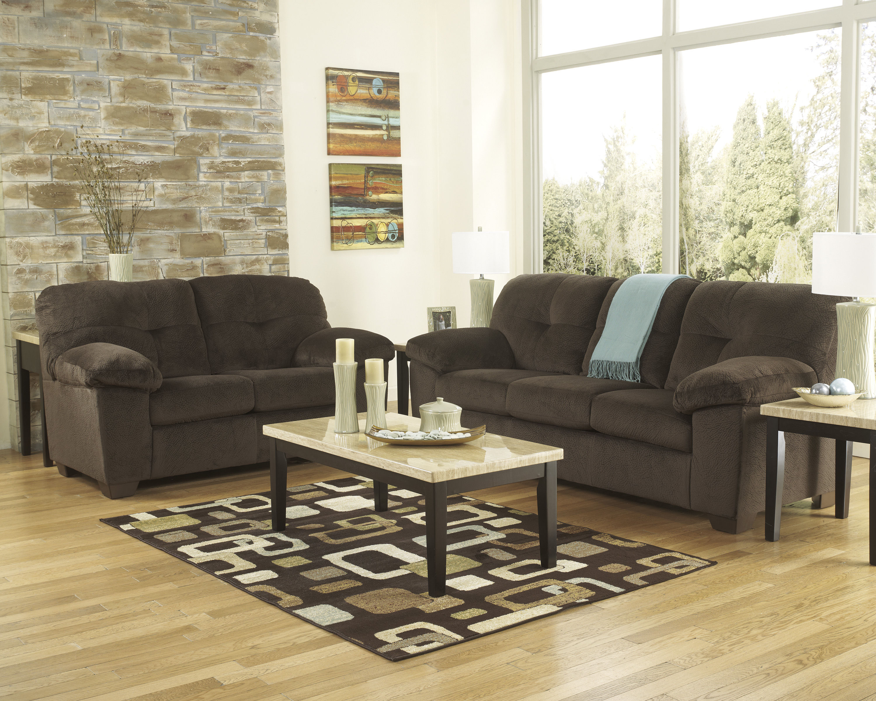 Inger contemporary chocolate fabric living room set the for Best living room set deals