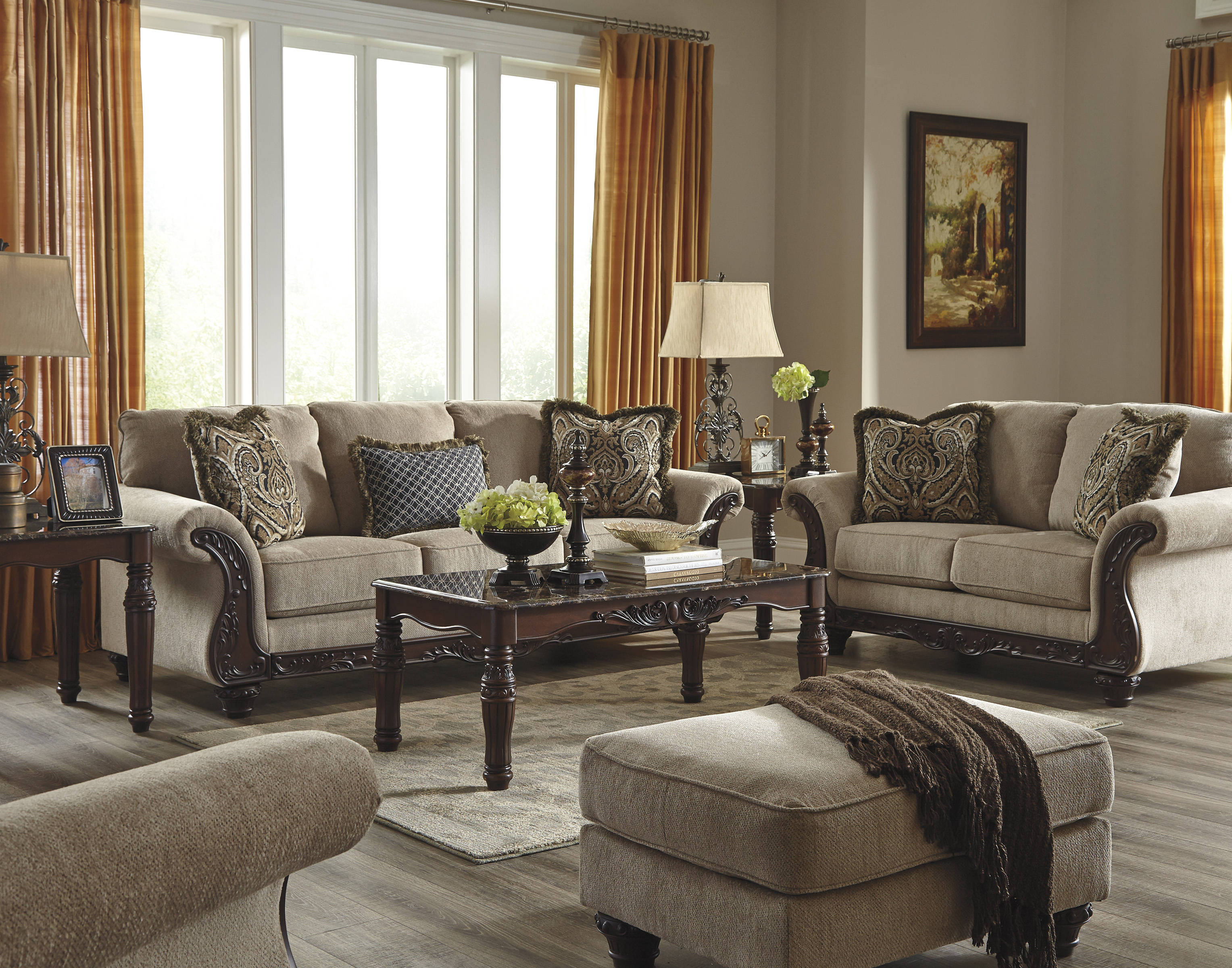 Laytonsville traditional classics pebble living room set for Best living room set deals