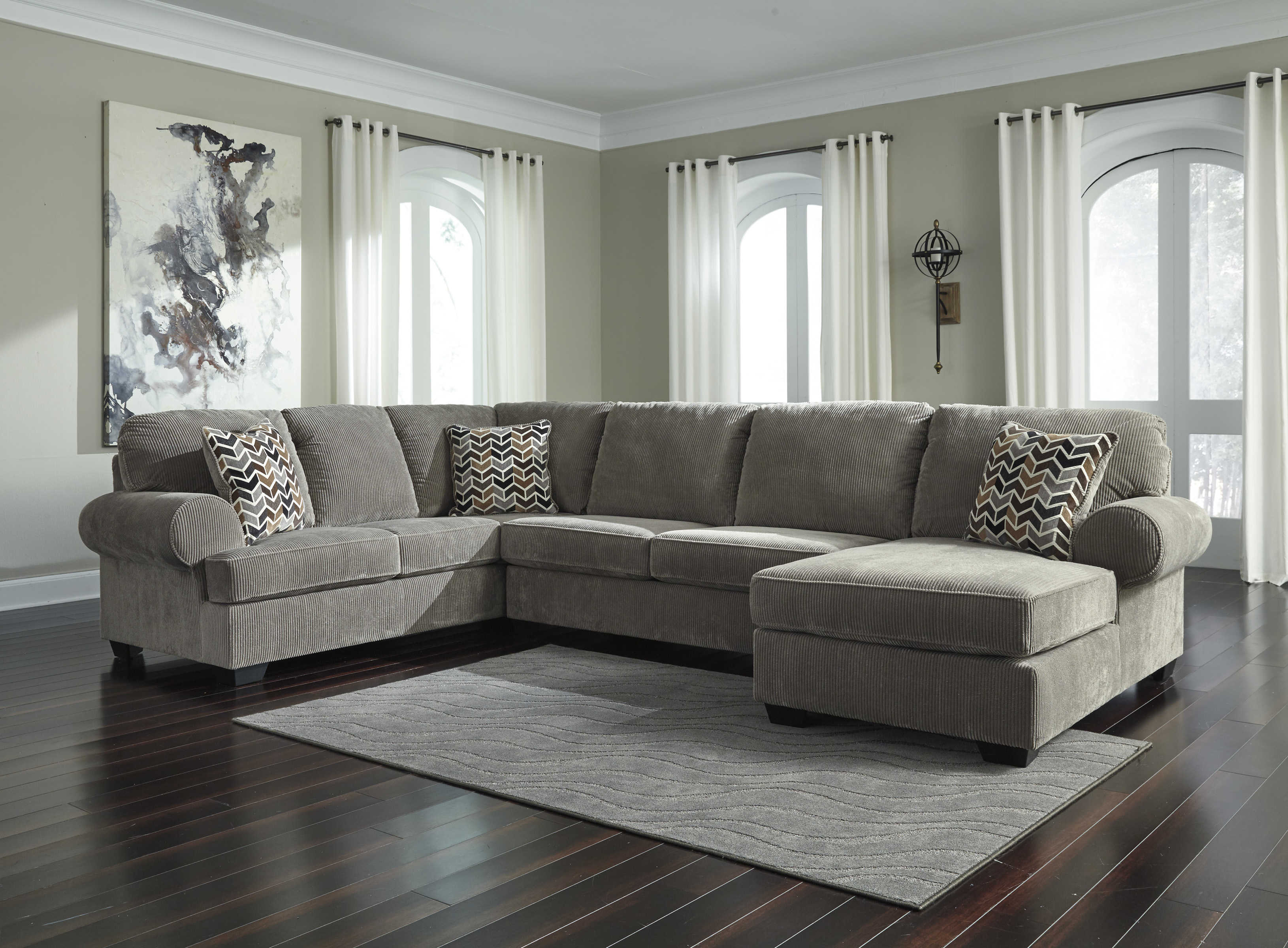 Ashley Furniture Jinllingsly Gray Raf Chaise Sectional