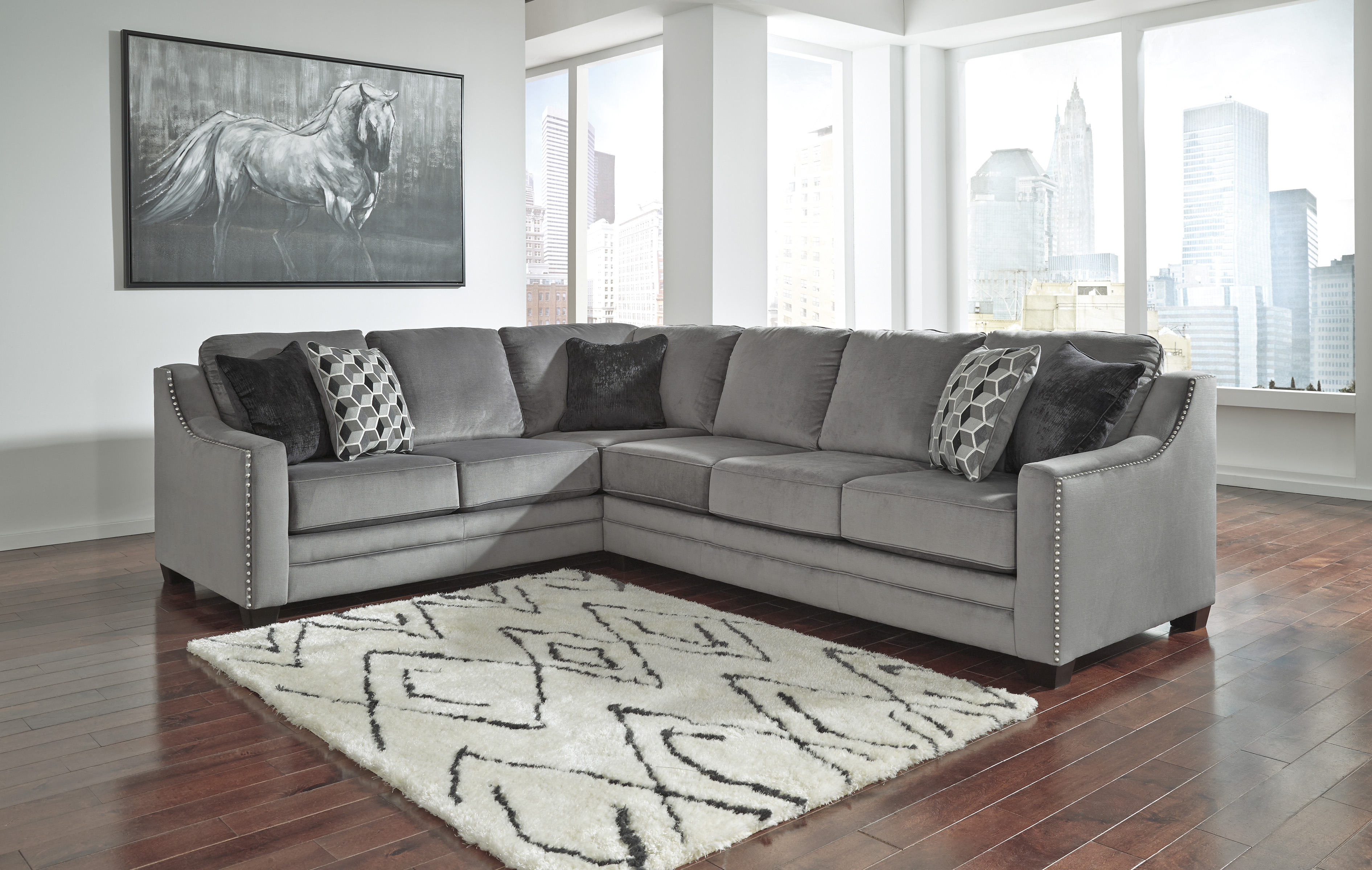 Ashley Furniture Bicknell Charcoal RAF Sofa Sectional ...