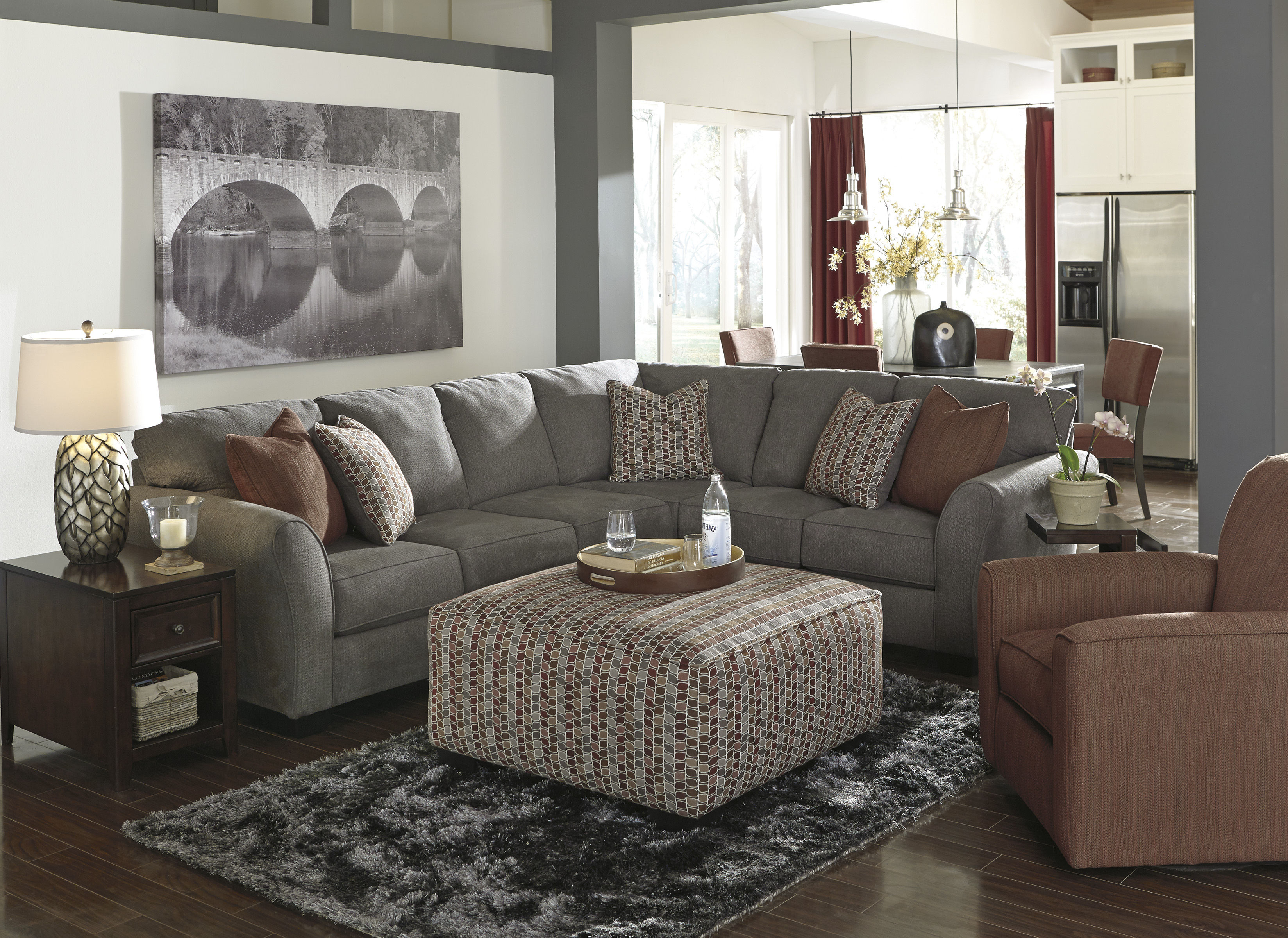 Doralin contemporary steel fabric living room set living for Best living room set deals