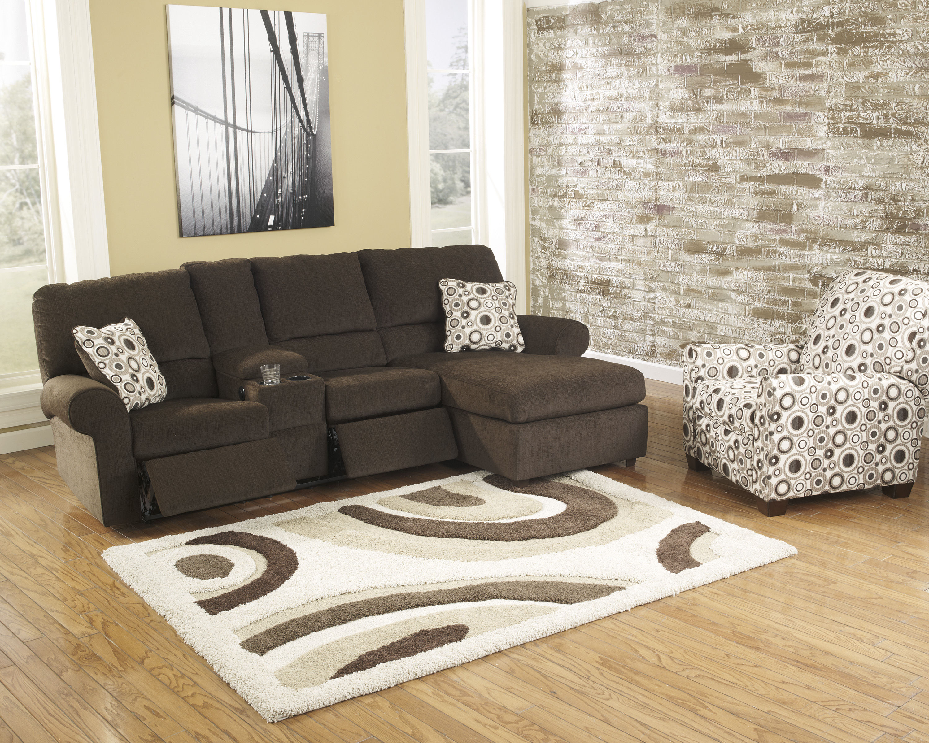 Cybertrack chocolate polyester 3pc sectional w power press for 3pc sectional with chaise