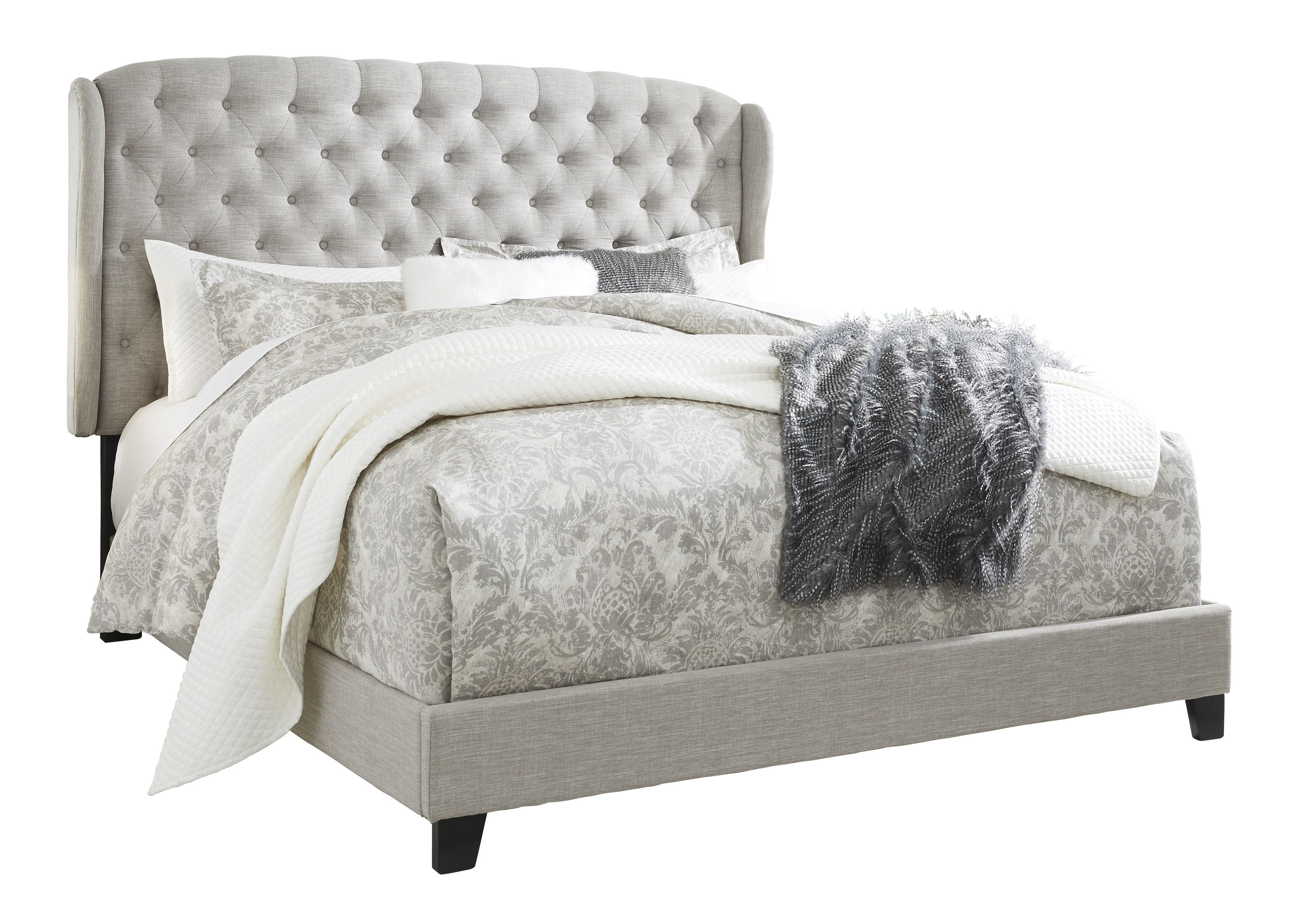 Ashley Furniture Jerary Gray Queen Upholstered Tufted Bed The
