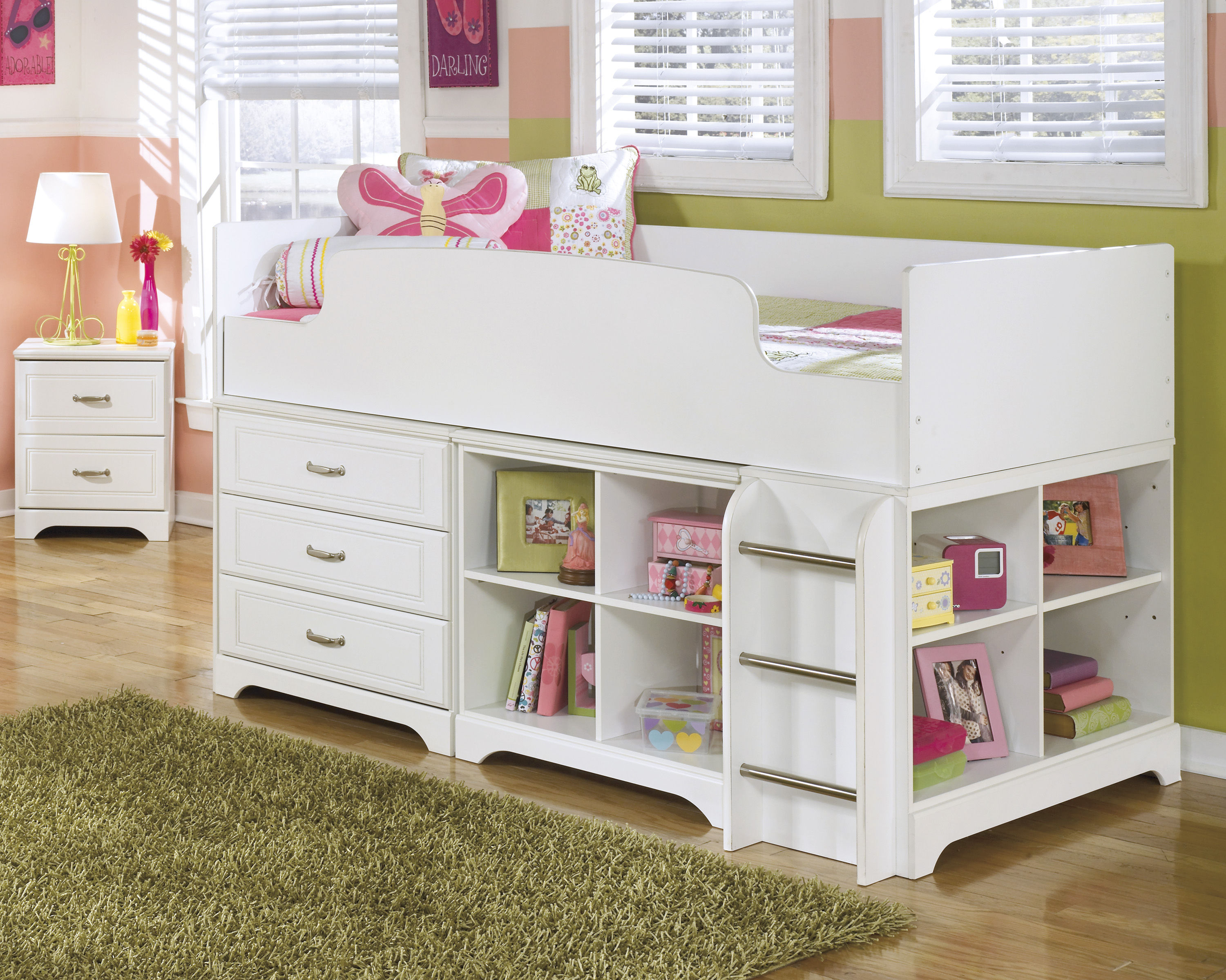 Ashley Furniture Lulu White Wood Twin Loft Bed The Classy Home