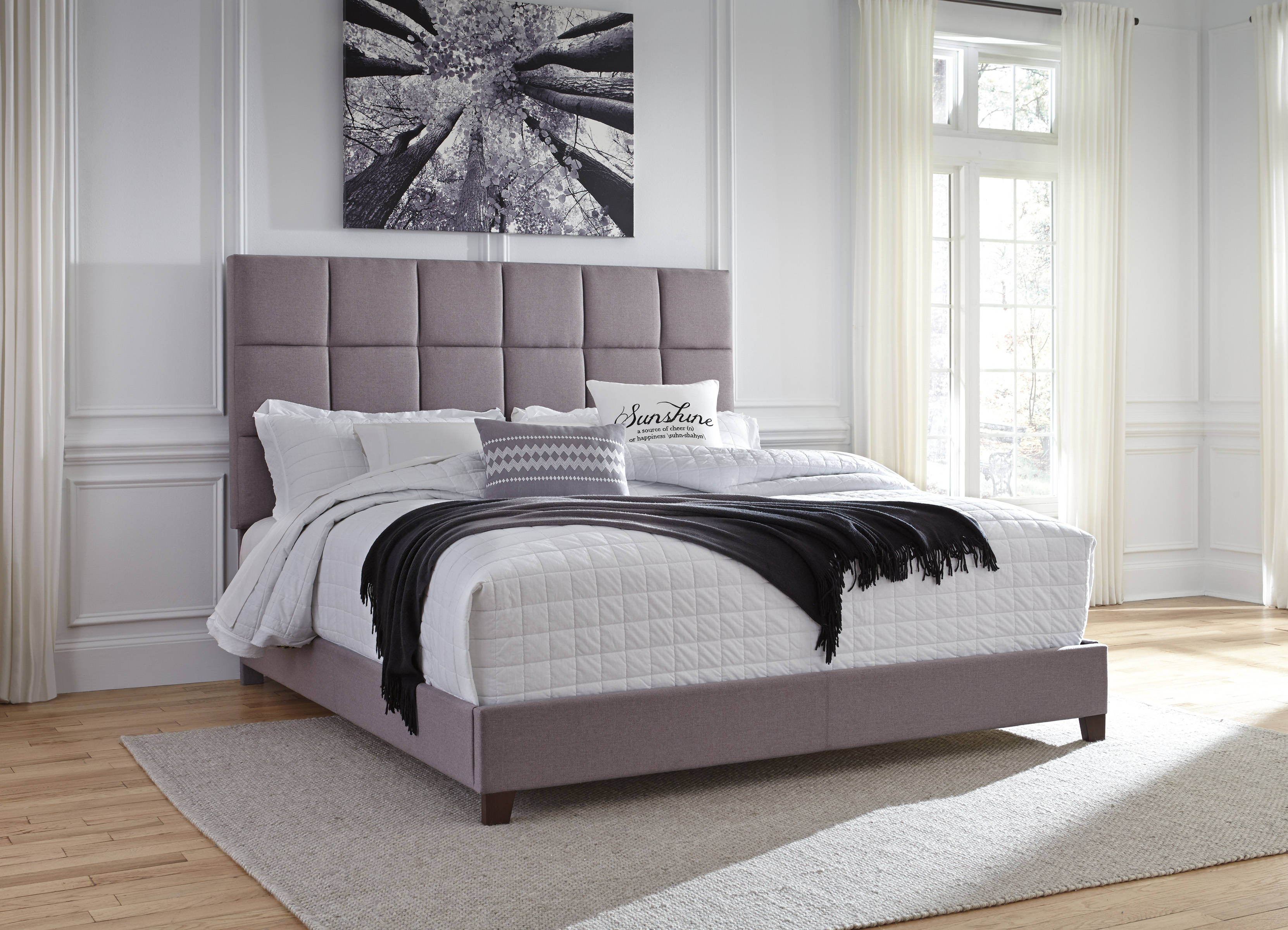 Ashley furniture contemporary gray king upholstered bed - Ashley furniture bedroom sets discontinued ...