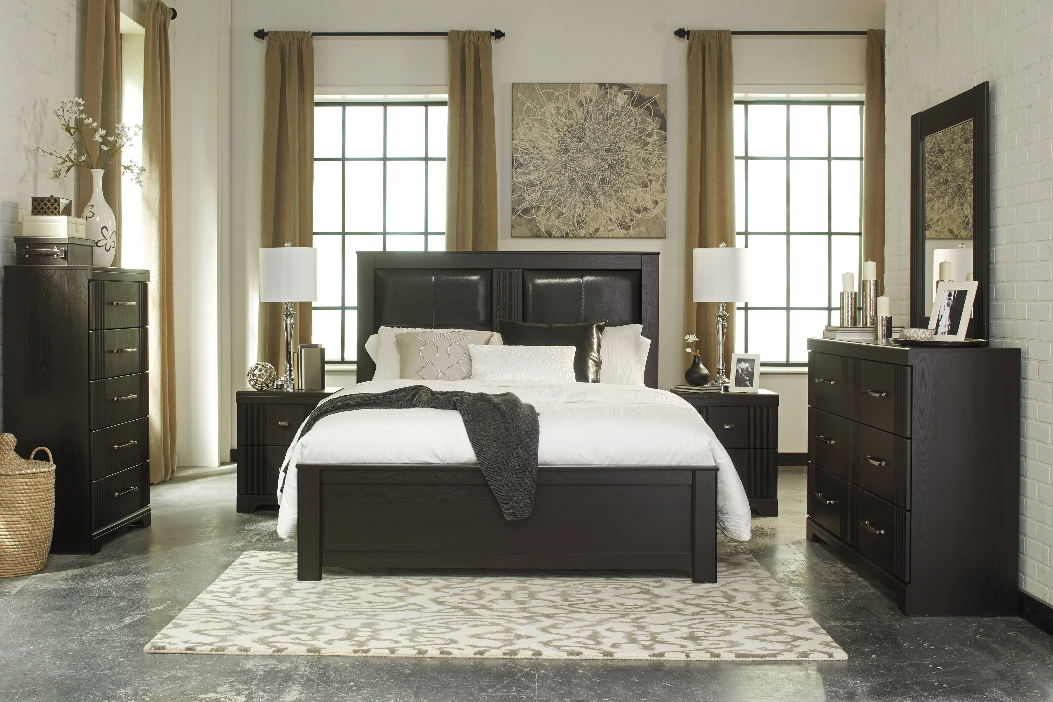 Tadlyn Contemporary Dark Brown Wood Glass Master Bedroom Set The Classy Home The Classy Home