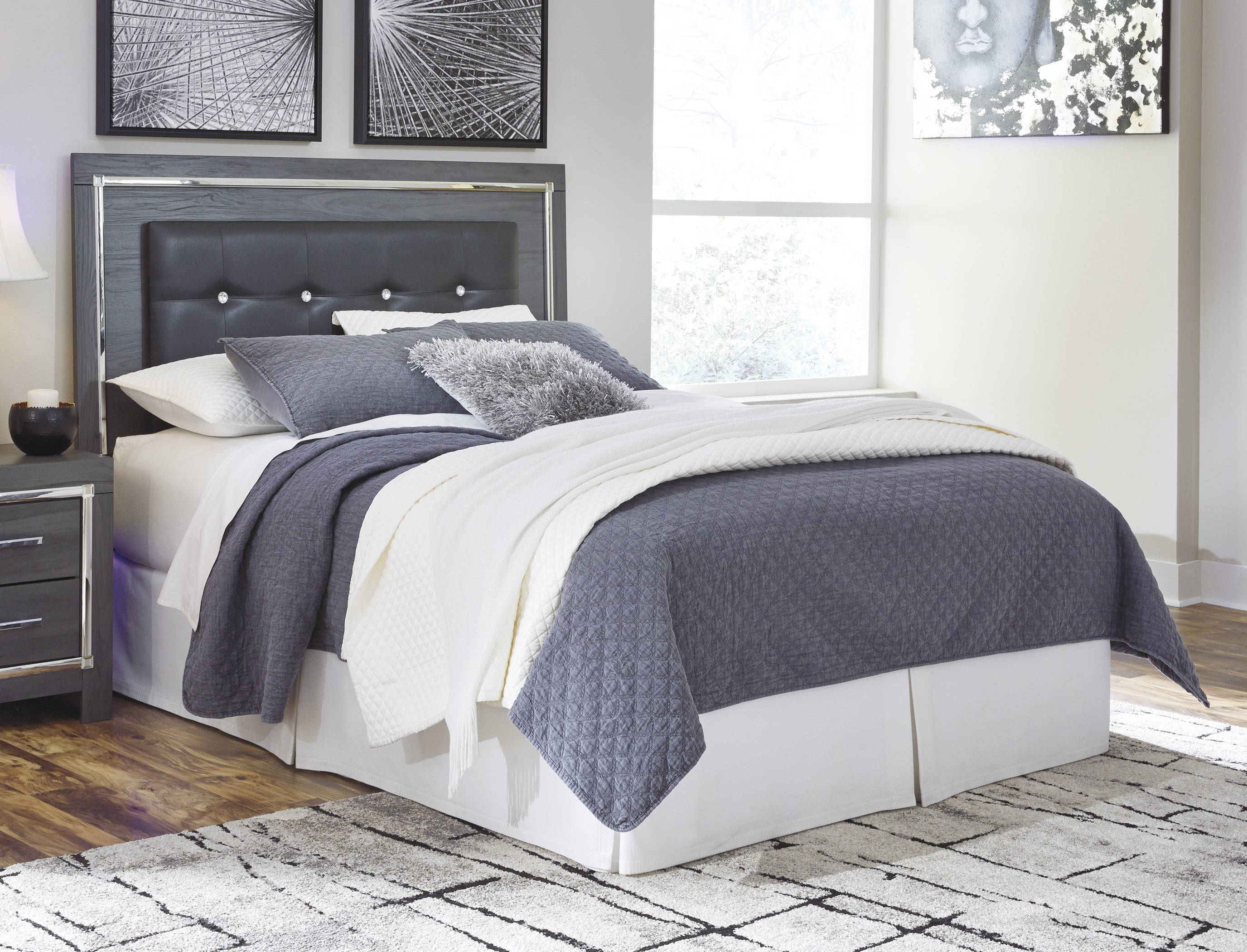 Super Ashley Furniture Lodanna Gray Full Upholstered Panel Headboard Home Interior And Landscaping Ferensignezvosmurscom