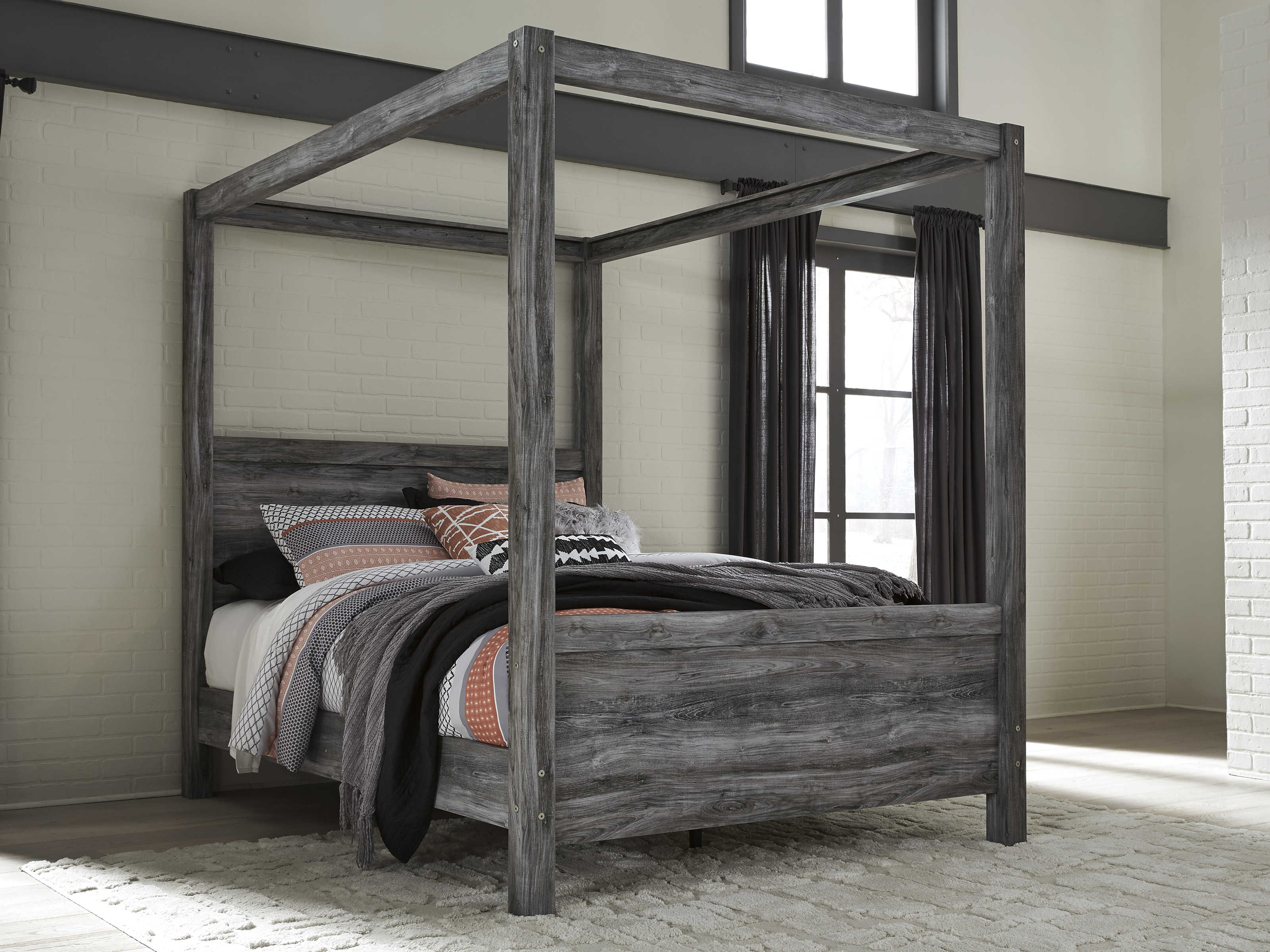 Ashley Furniture Baystorm Gray Queen Canopy Poster Bed Click To Enlarge