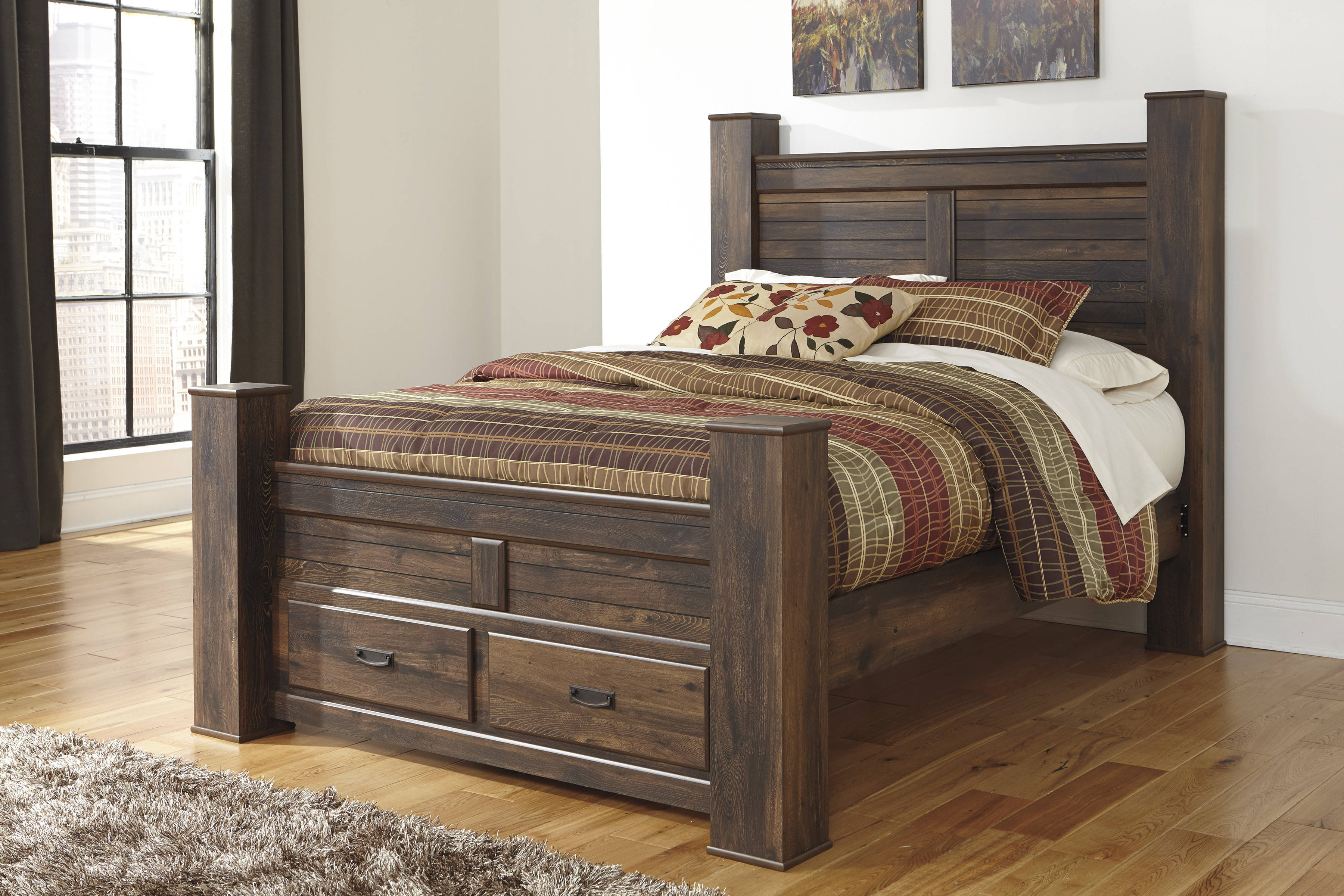 Ashley Furniture Quinden Queen Poster Storage Bed The Classy Home