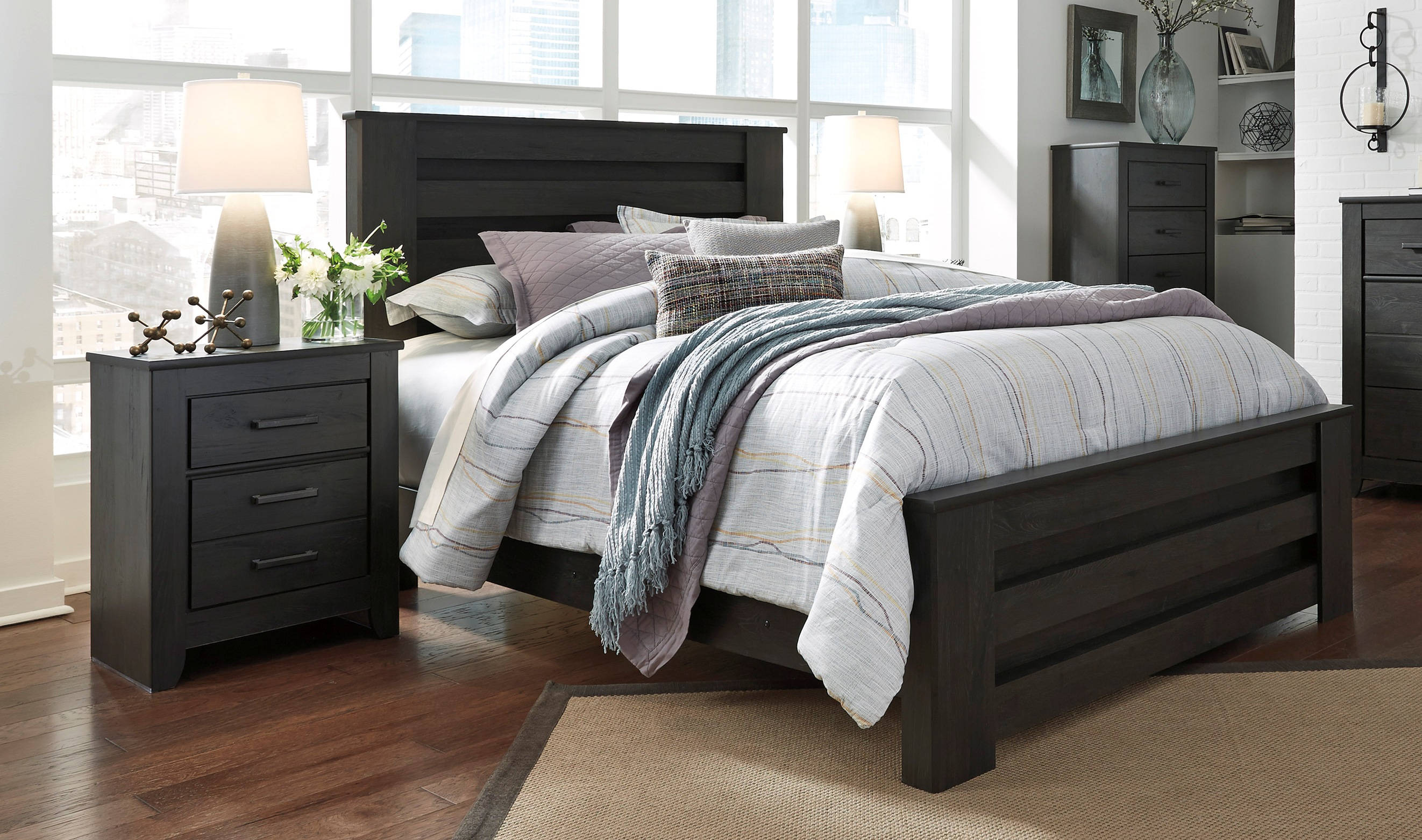 Ashley Furniture Brinxton Black 2pc Bedroom Set With Queen Panel Bed