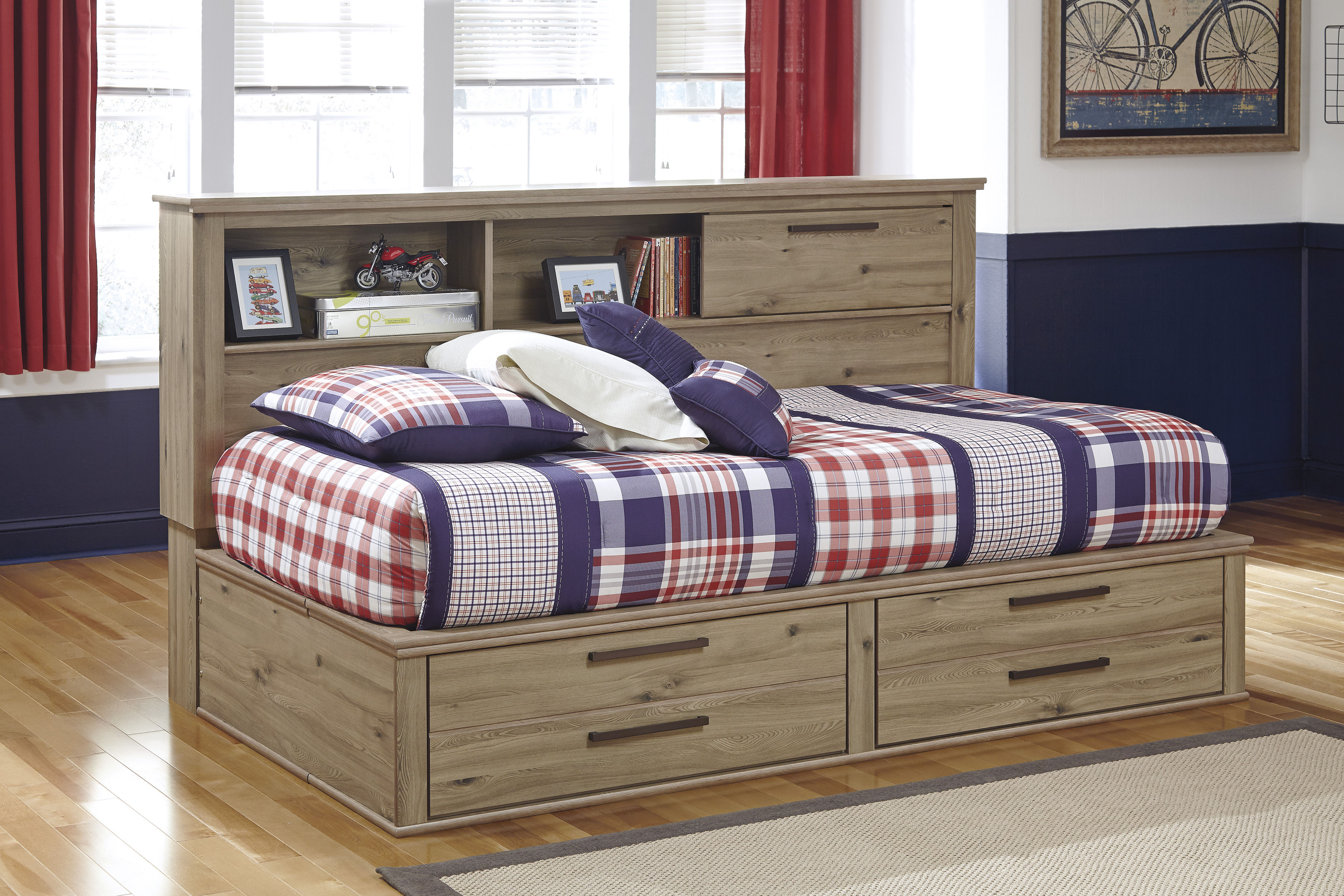 Dexifield Brown Wood Twin Bed W Bookcase Headboard