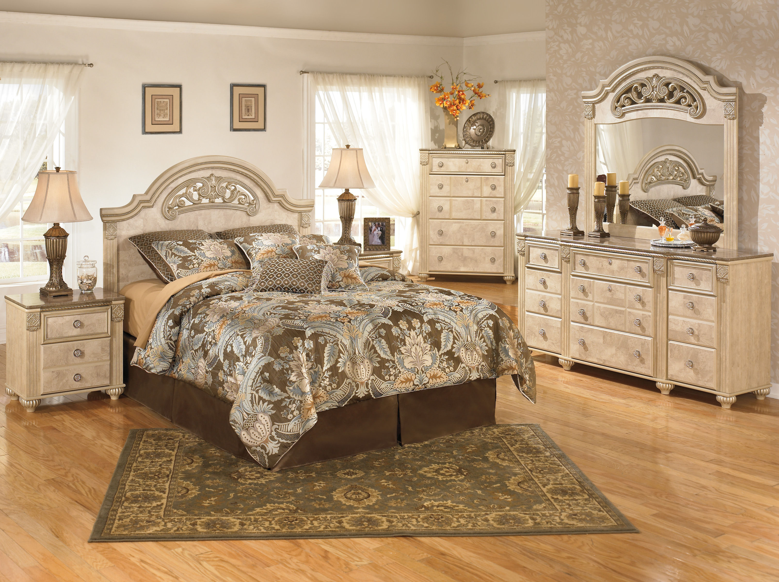 Bedroom Sets Light Wood saveaha light brown wood marble 2pc bedroom set w/queen poster bed
