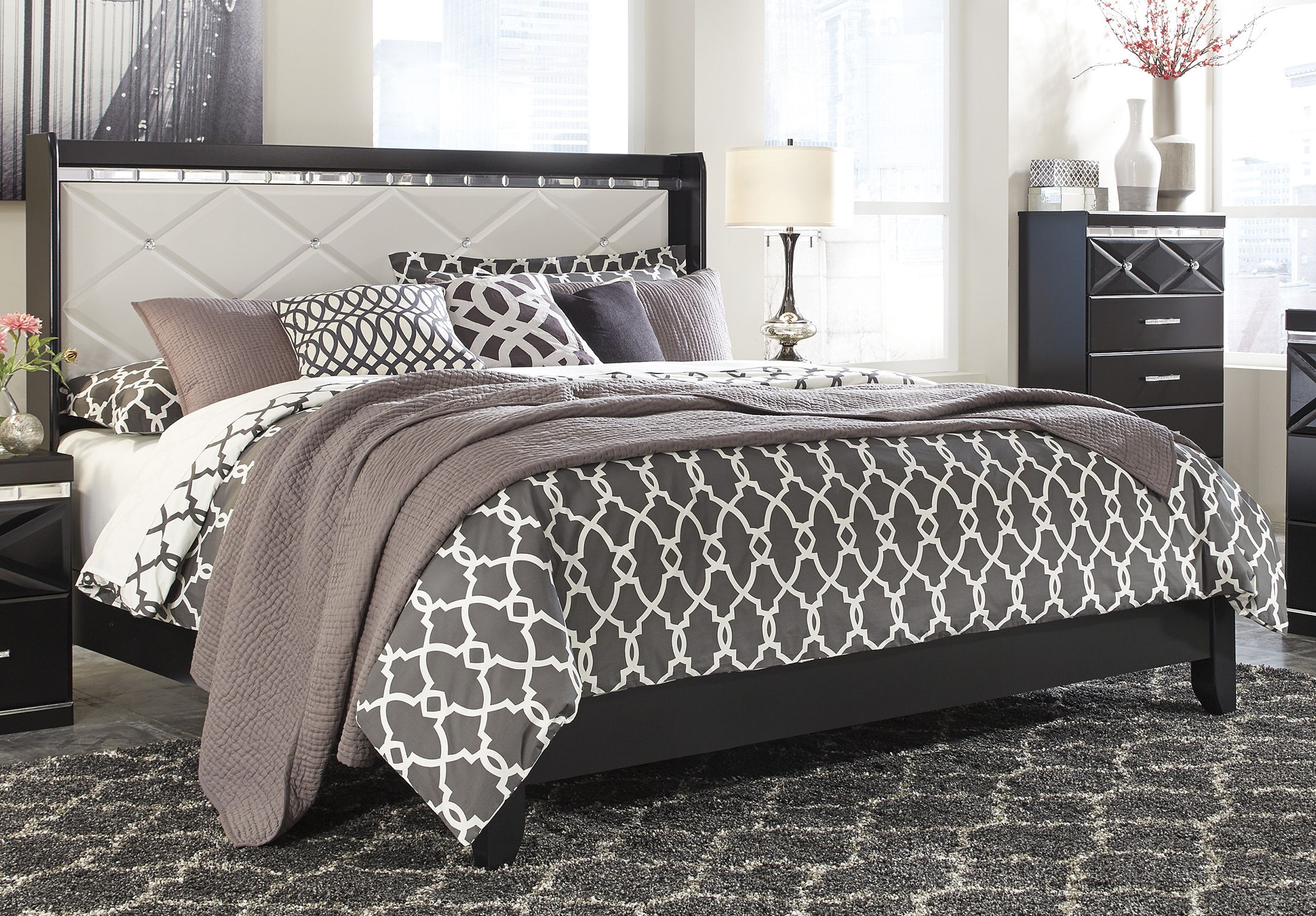 Ashley Furniture Fancee Queen Upholstered Panel Bed The Classy Home