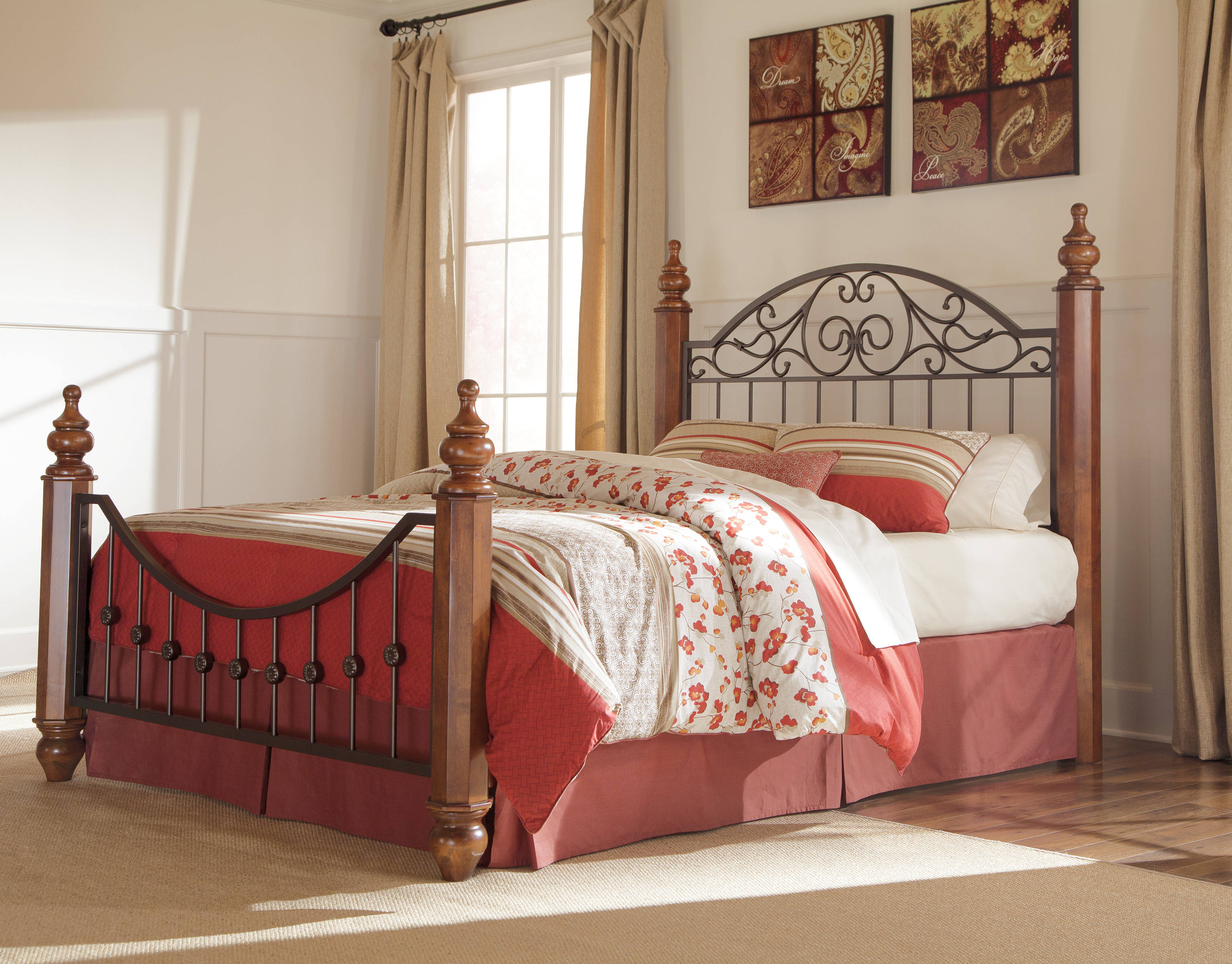 Wyatt Traditional Medium Brown Queen Post Bed The Classy Home