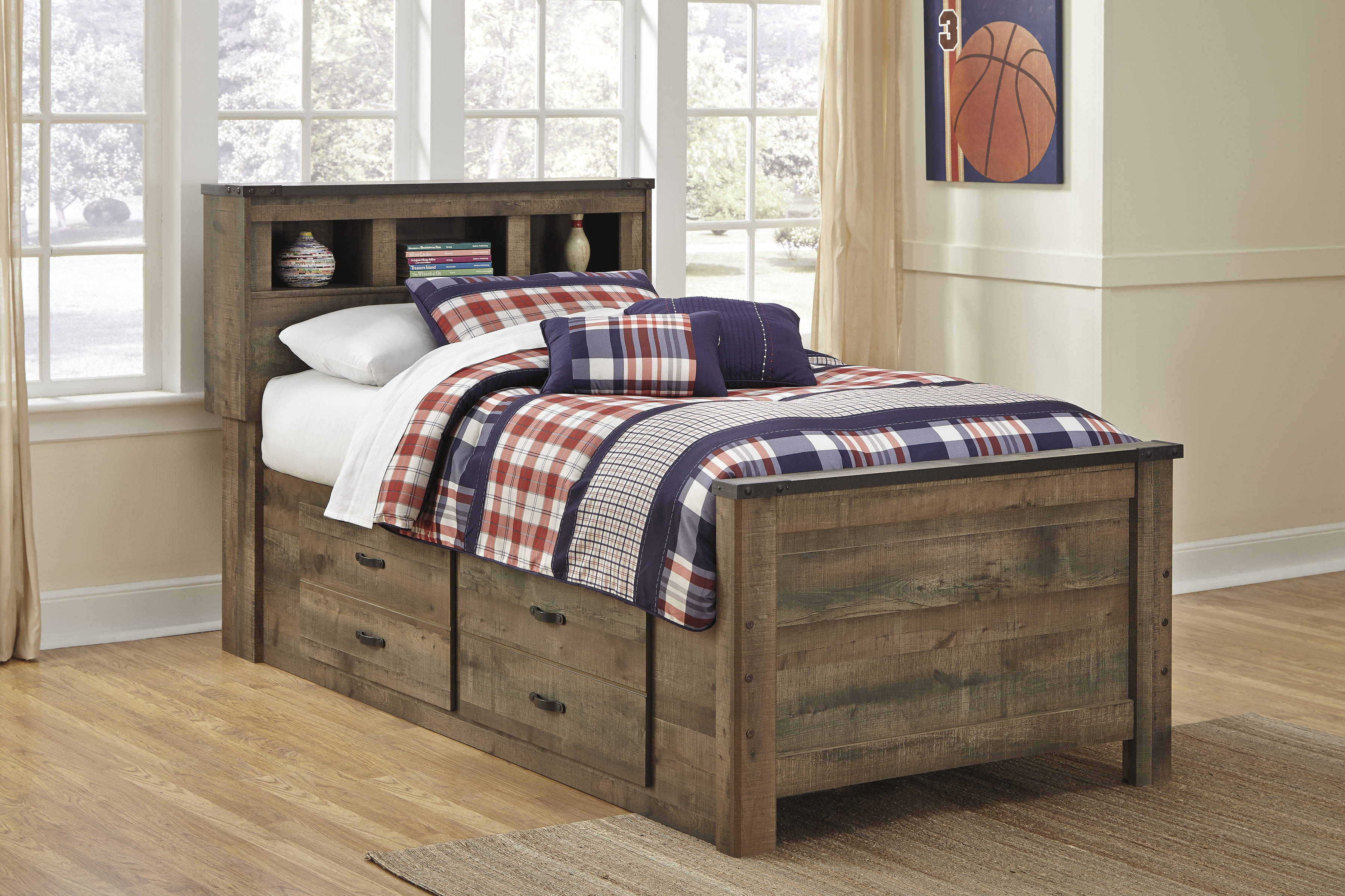Ashley Furniture Trinell Twin Bookcase Bed with Underbed ...
