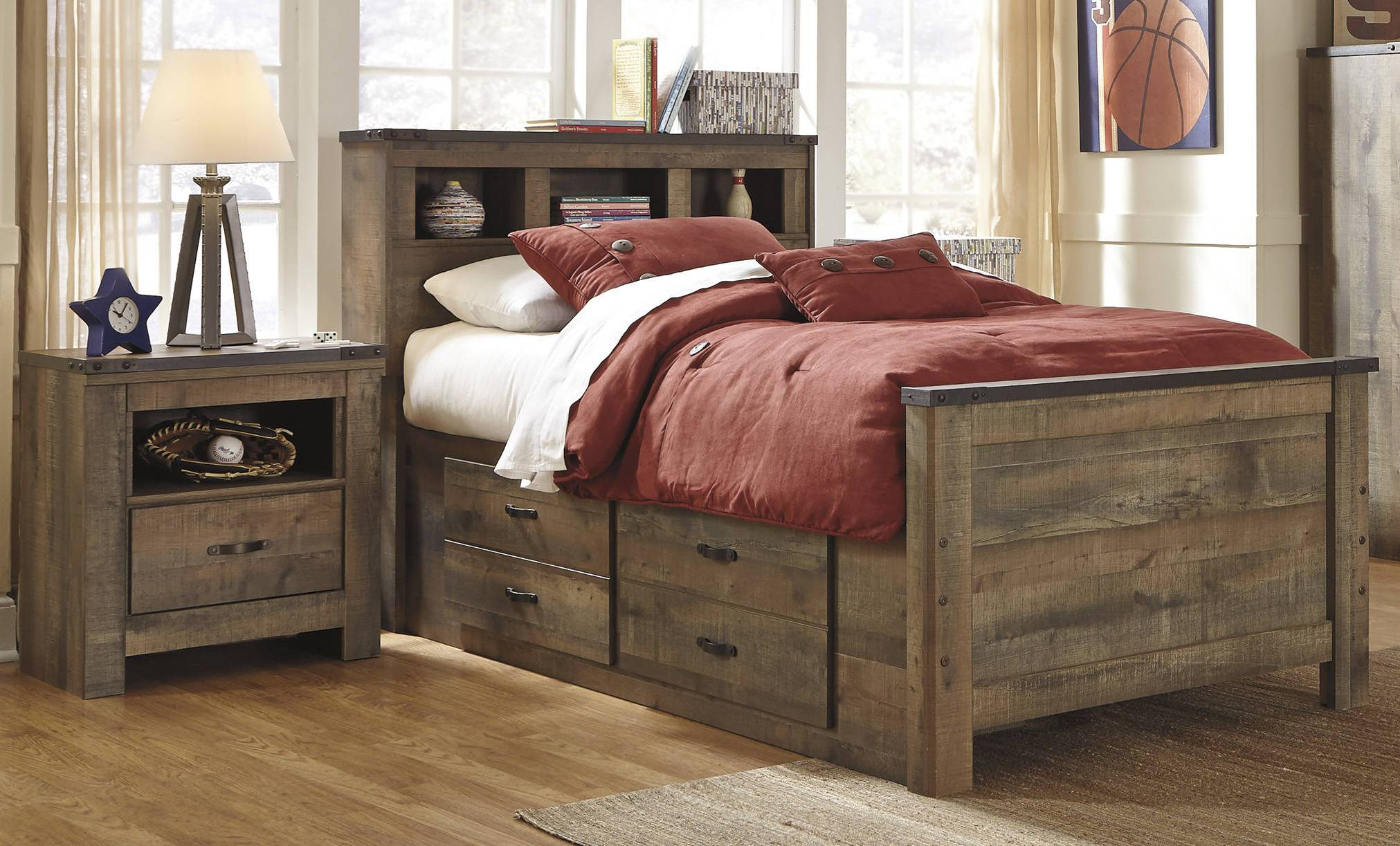 Ashley Furniture Trinell 2pc Bedroom Set With Twin Storage Bed