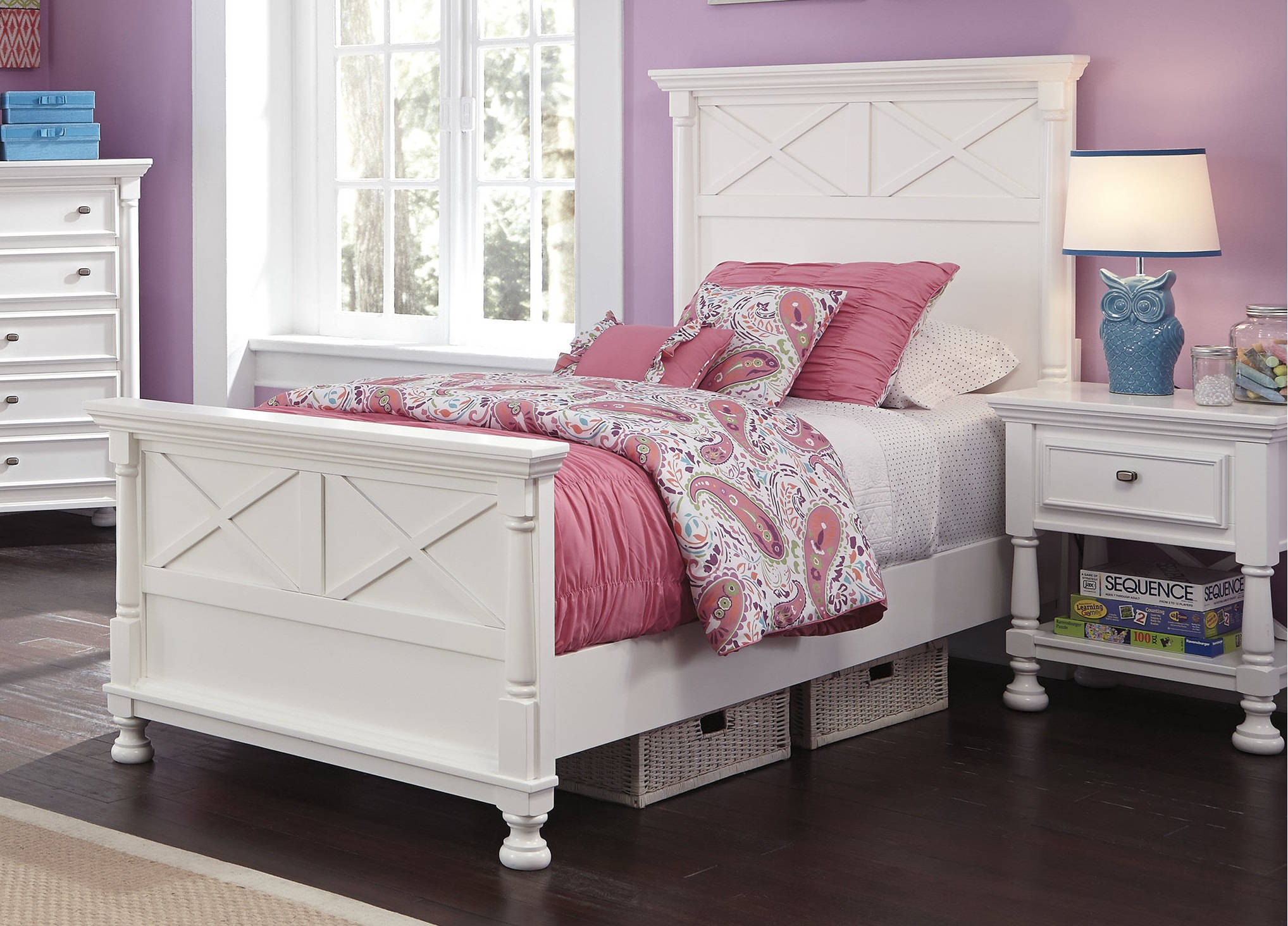 Ashley Furniture Kaslyn White 2pc Kids Bedroom Set with Twin Panel Bed