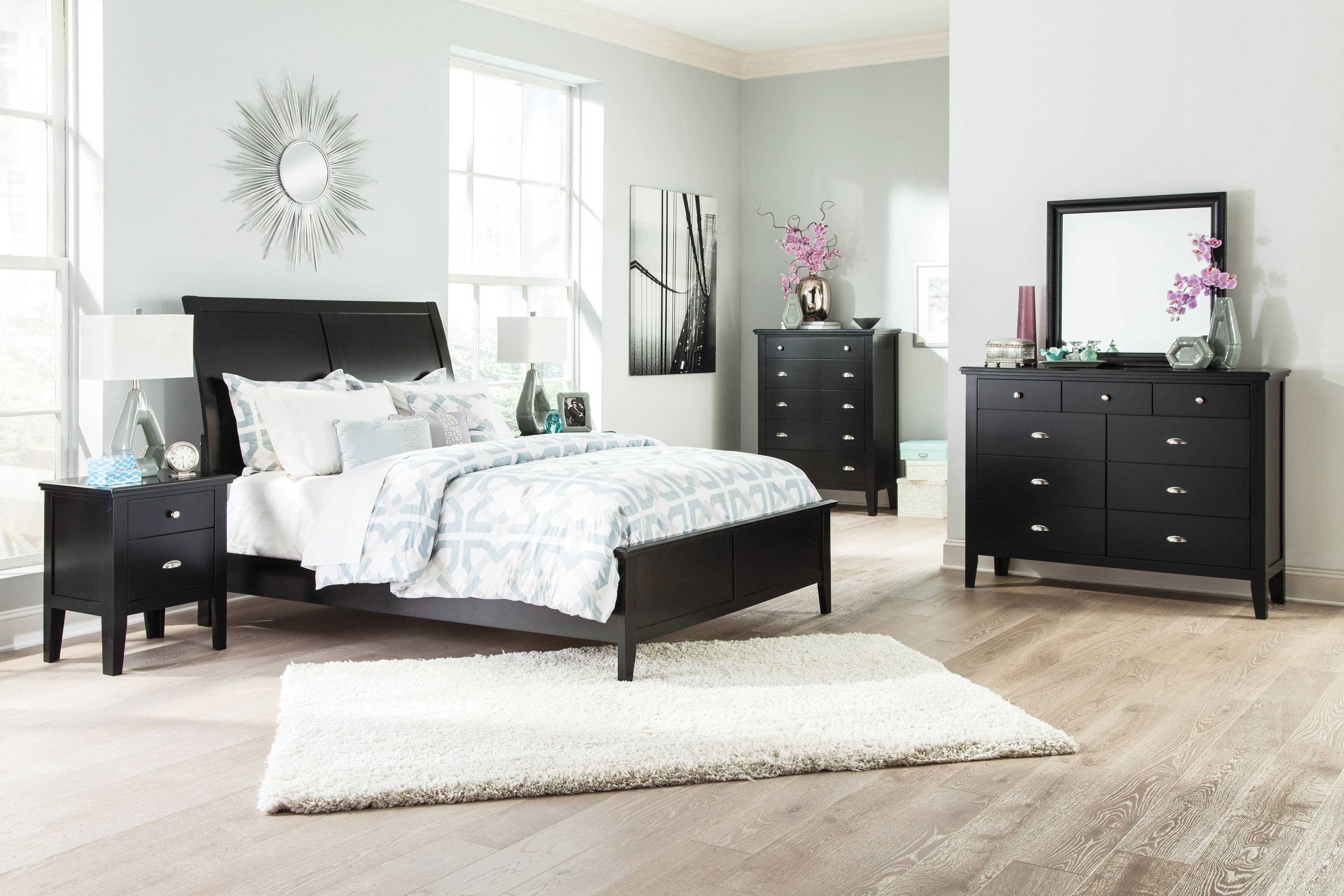 Braflin contemporary black master bedroom set the classy for Best deals on bedroom furniture