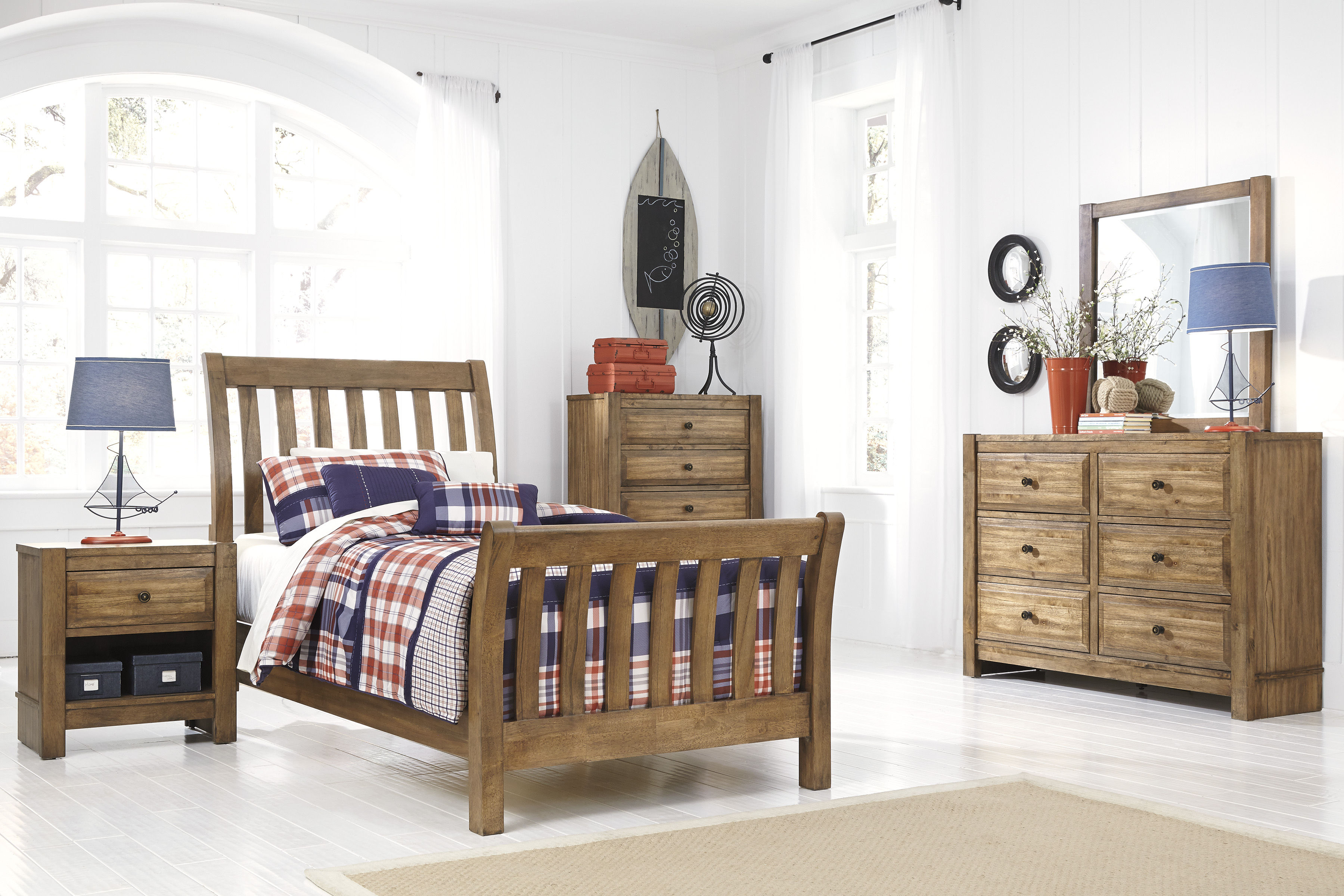 birnalla contemporary light brown wood 4pc bedroom set w twin bed the classy home. Black Bedroom Furniture Sets. Home Design Ideas
