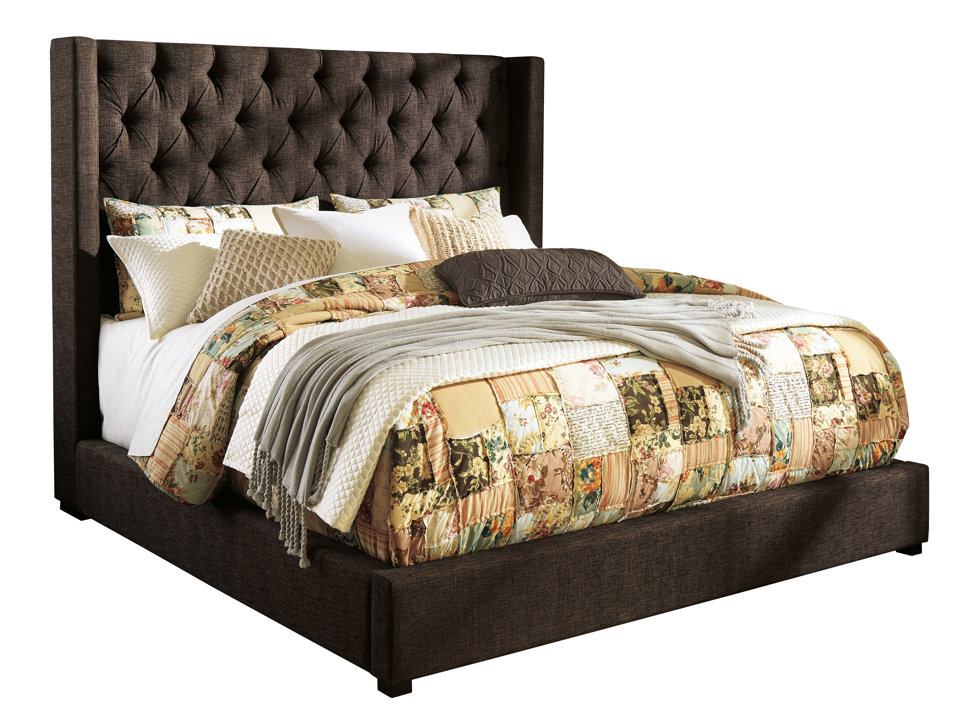 Ashley Furniture Norrister Dark Brown Queen Upholstered Bed The Classy Home