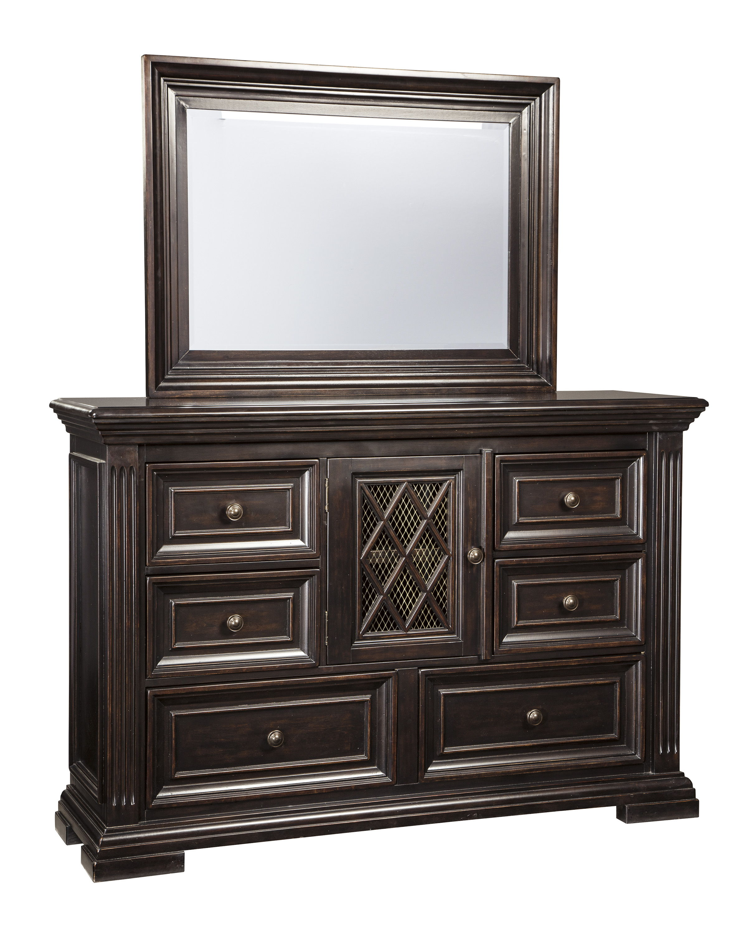 Willenburg Casual Dark Brown Solid Wood Glass Dresser And