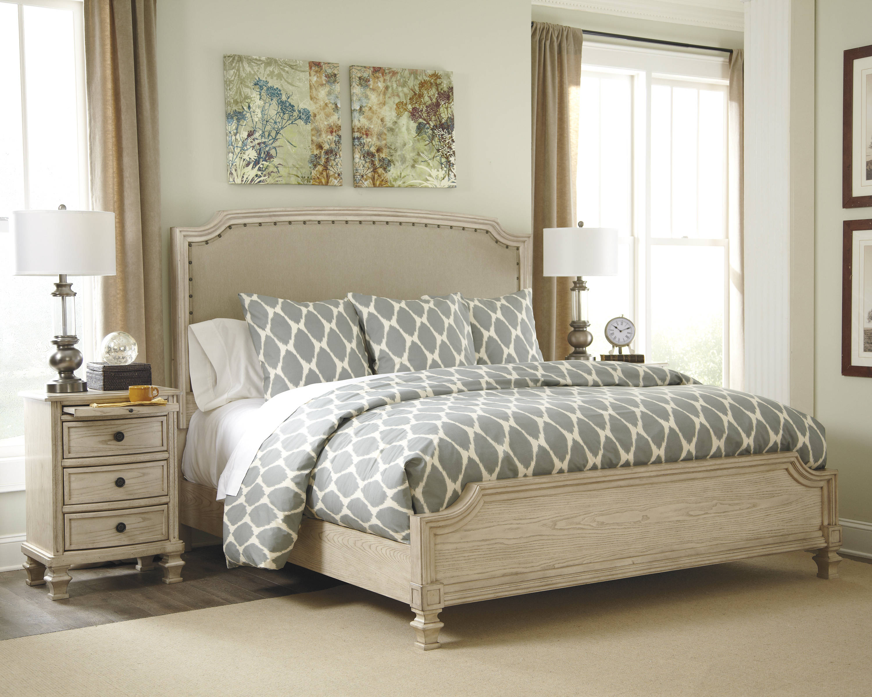 Ashley Furniture Demarlos Fabric 2pc Bedroom Set With Queen