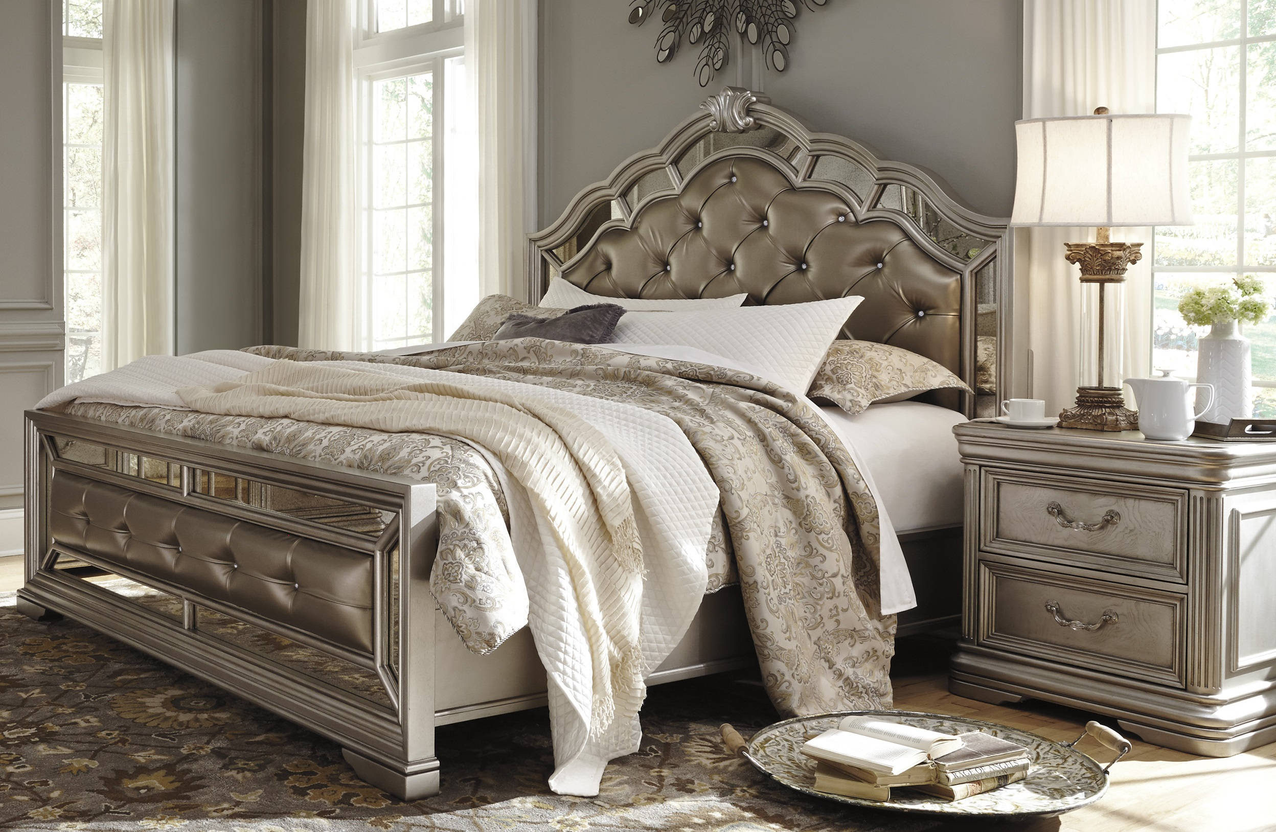 Ashley Furniture Birlanny Silver 2pc Bedroom Set With Cal King Bed