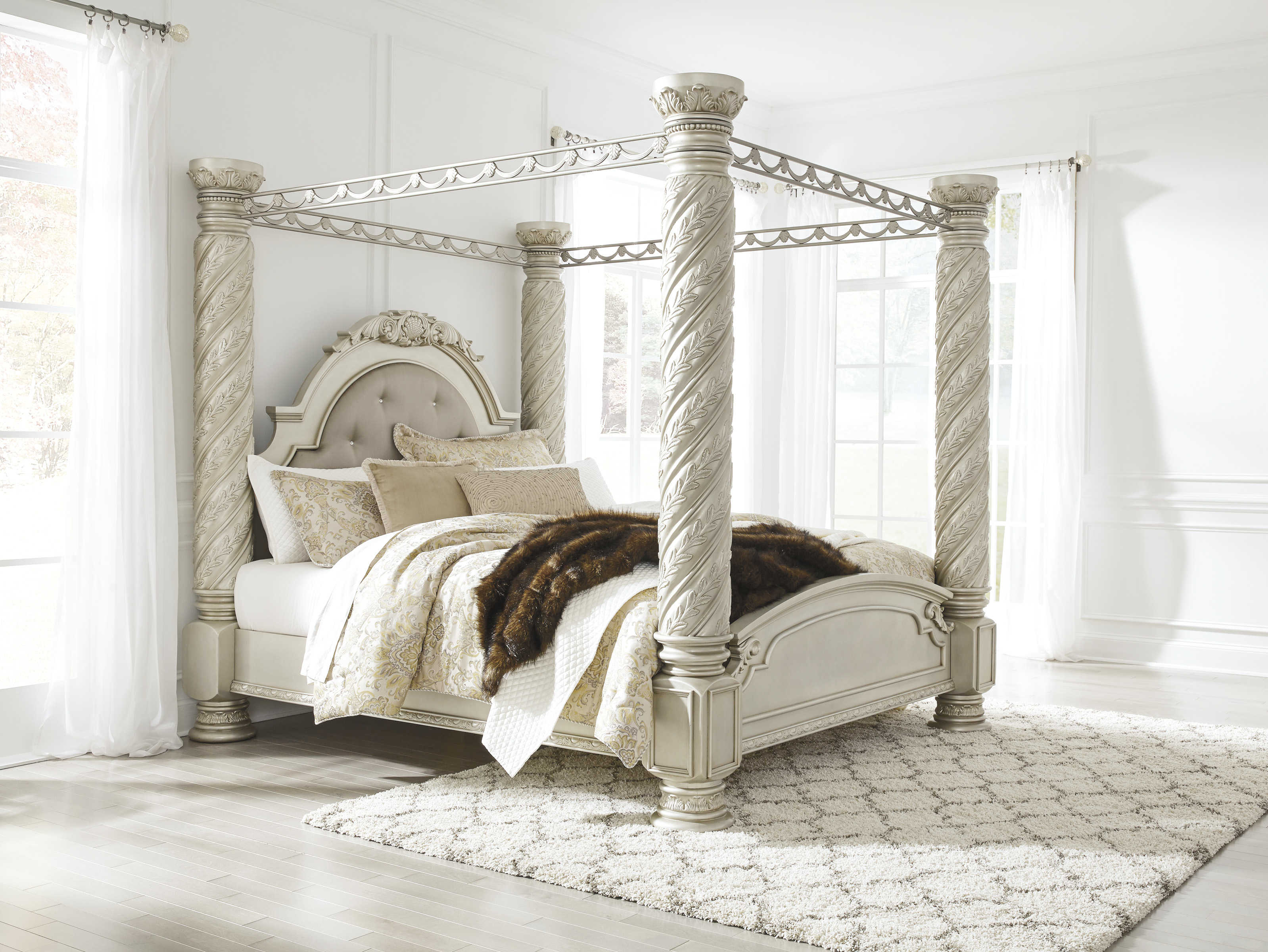 Ashley Furniture Cimore King Poster Canopy Bed