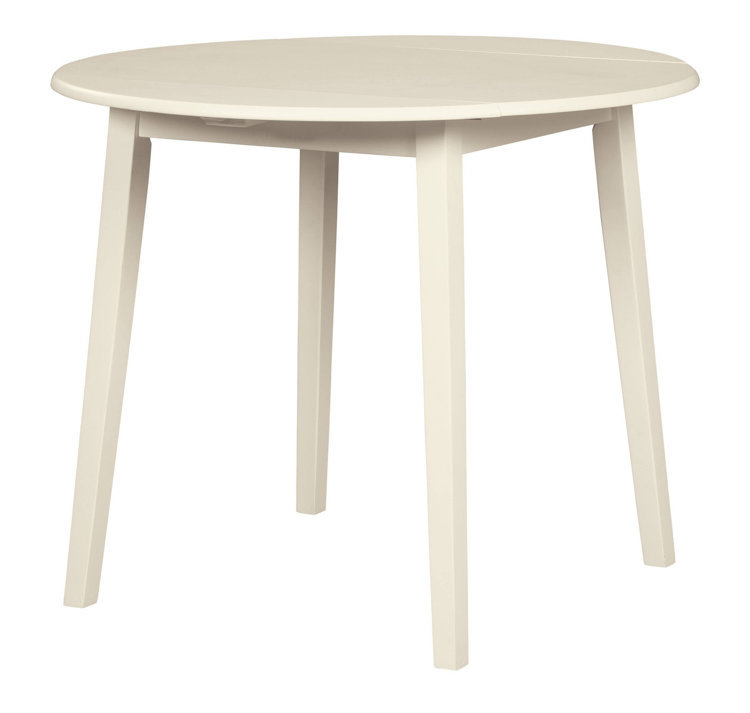 Ashley Furniture Slannery White Round Drop Leaf Dining Table The