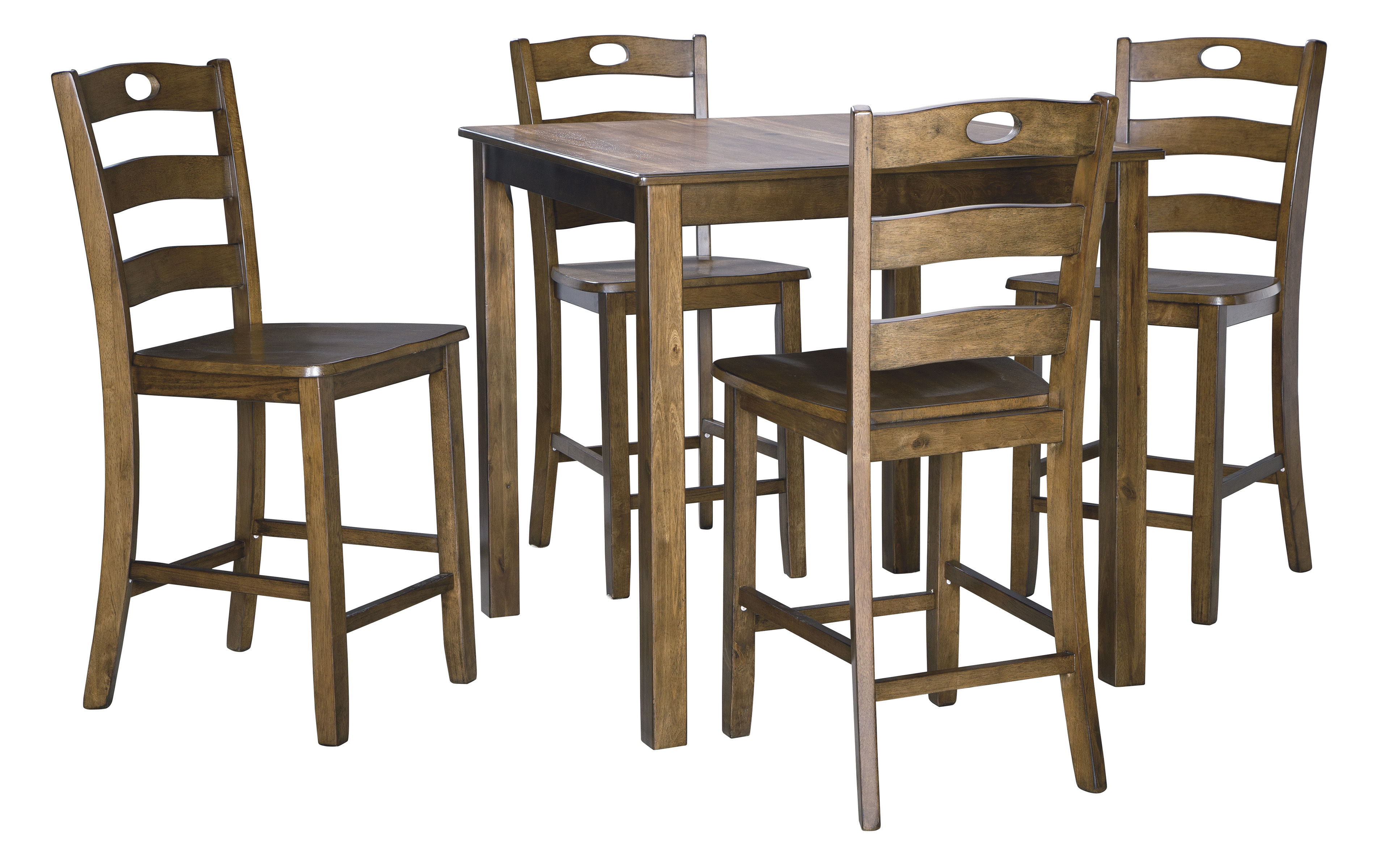 Ashley Furniture Hazelteen Brown 5pc Square Counter Height Set The