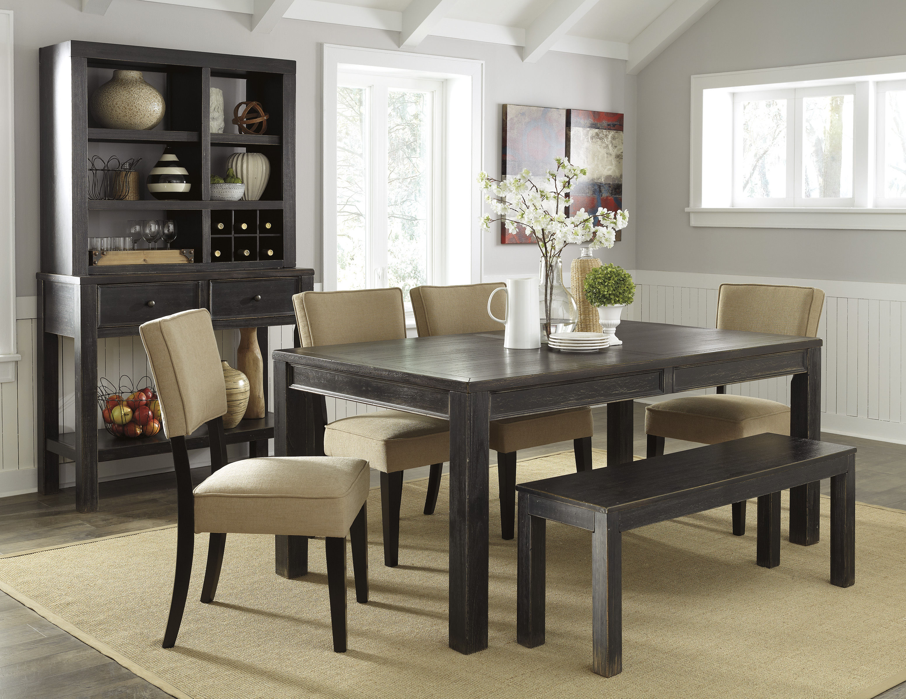 Gavelston urbanology black beige wood 6pc dining room set for Black dining room set