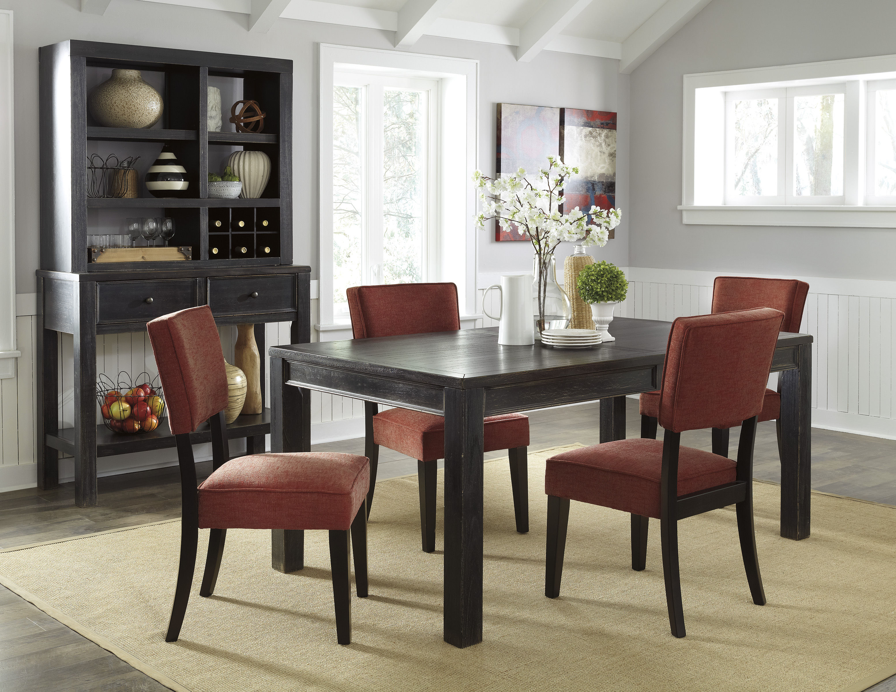 Gavelston Urbanology Black Brick Wood 5pc Dining Room Set