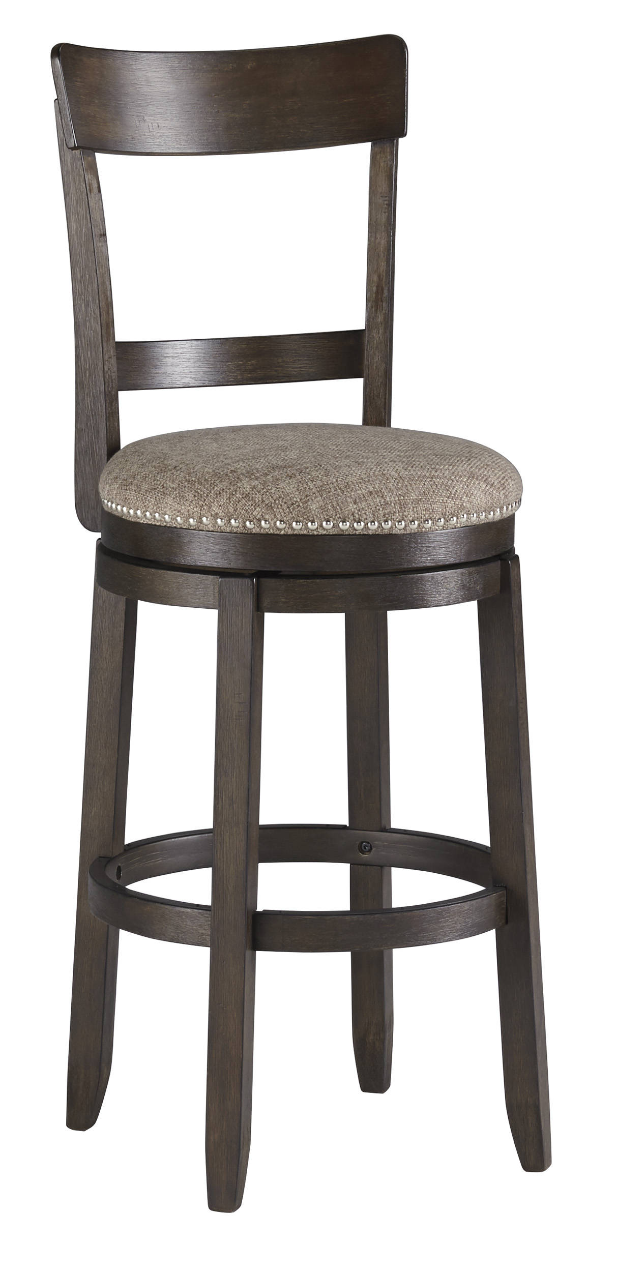 2 Ashley Furniture Drewing Brown Tall Upholstered Swivel Barstools
