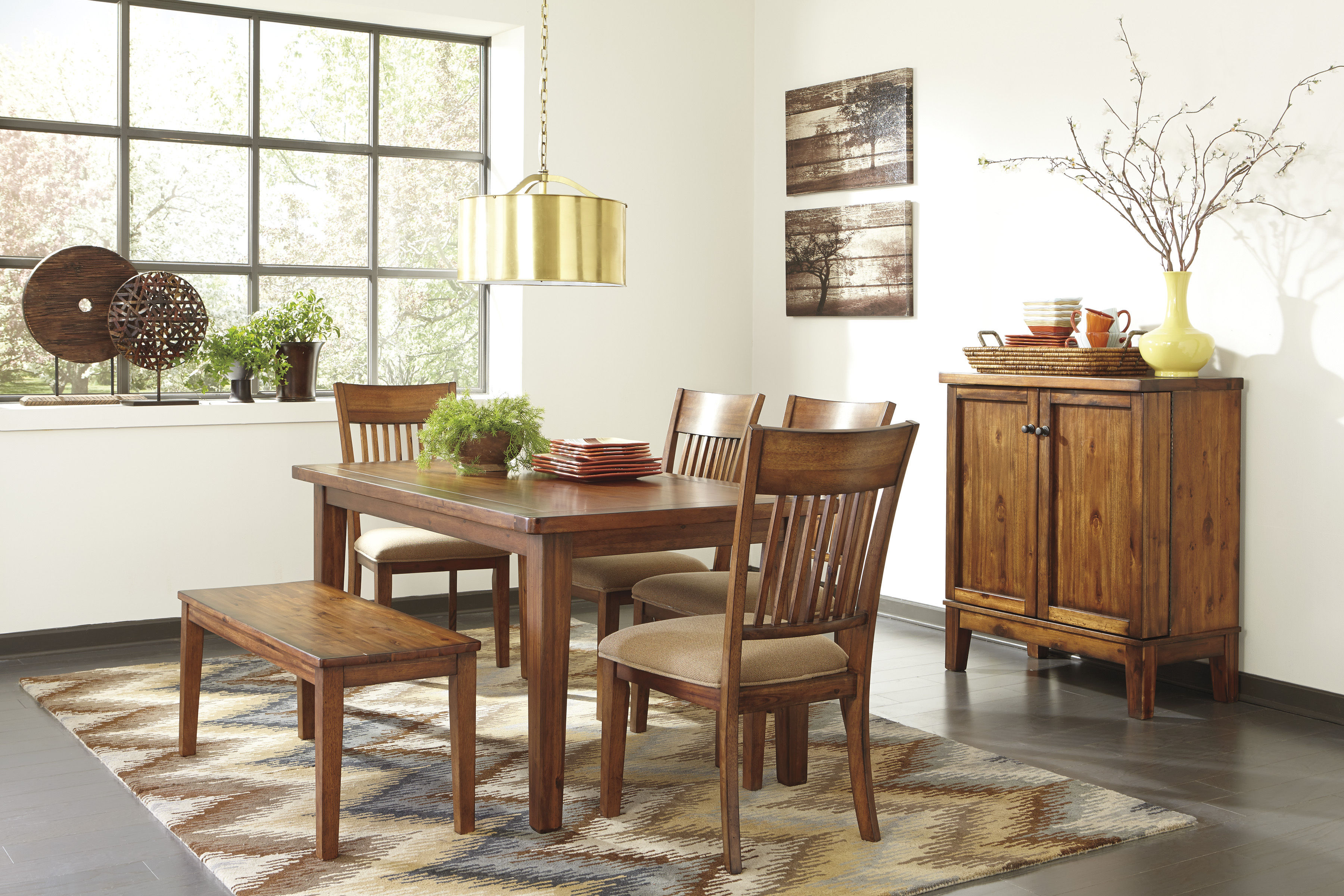 Shallibay light brown wood dining room set the classy for Best deals on dining room sets