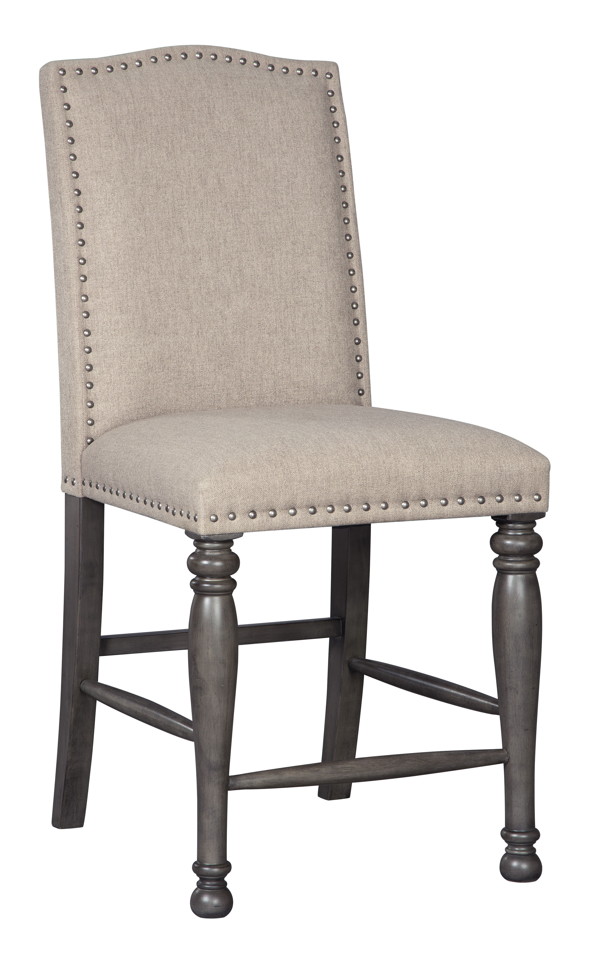 2 Ashley Furniture Audberry Dark Gray Upholstered Bar Stools The
