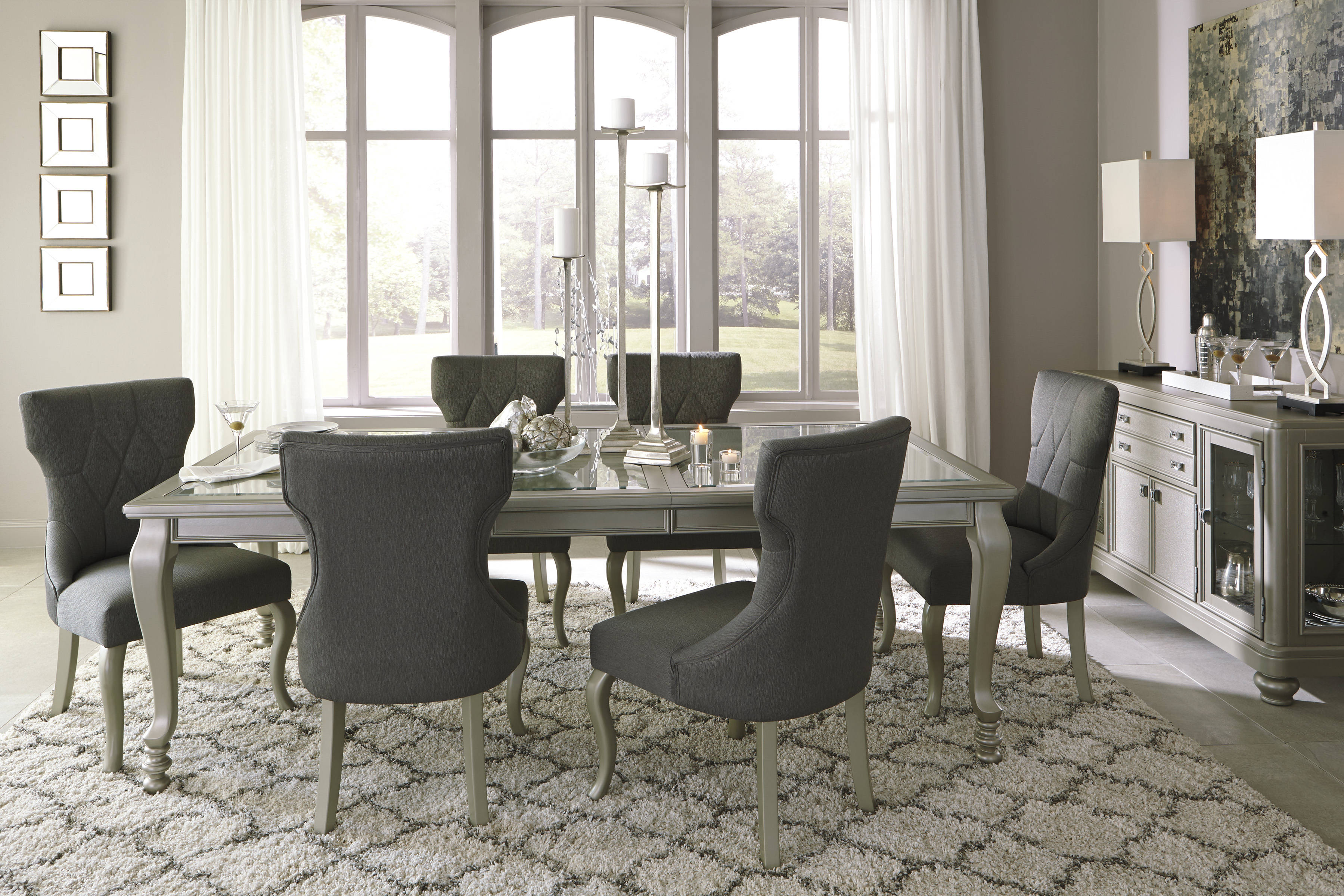 coralayne old world silver finish pvc glass 7pc dining room set