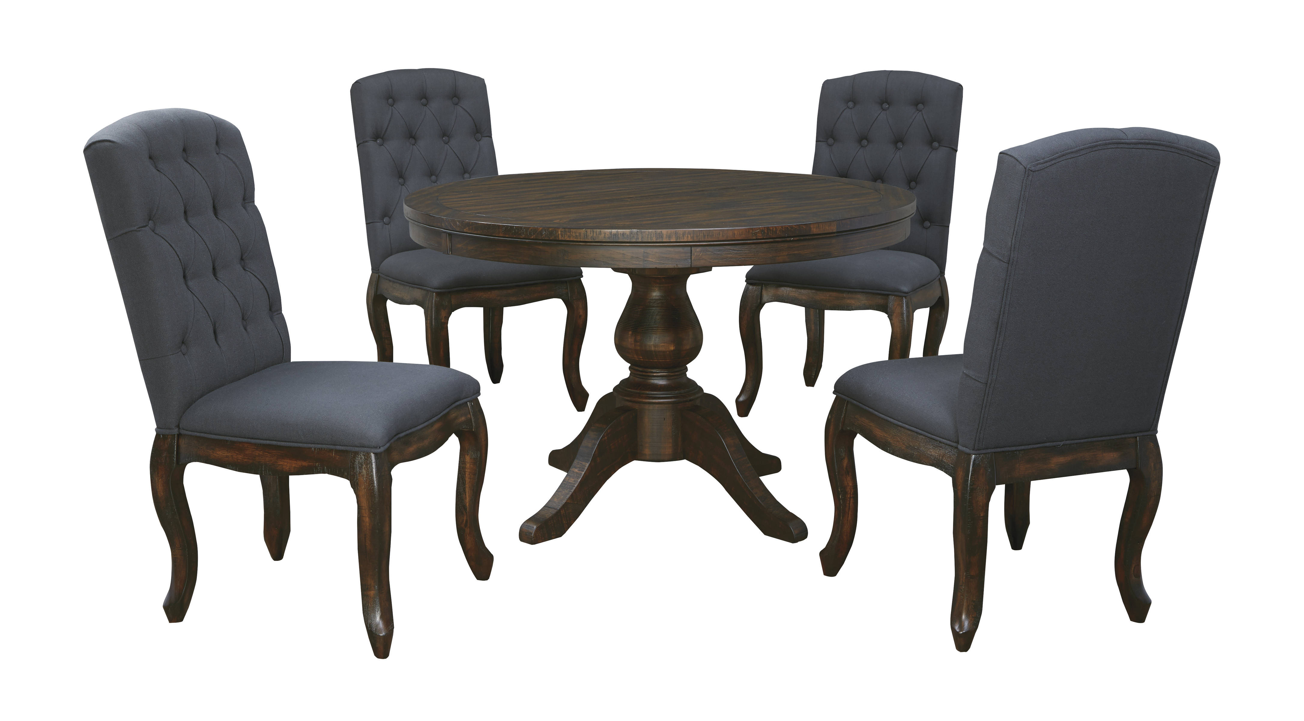 Trudell Golden Brown Fabric Wood 5pc Dining Room plete
