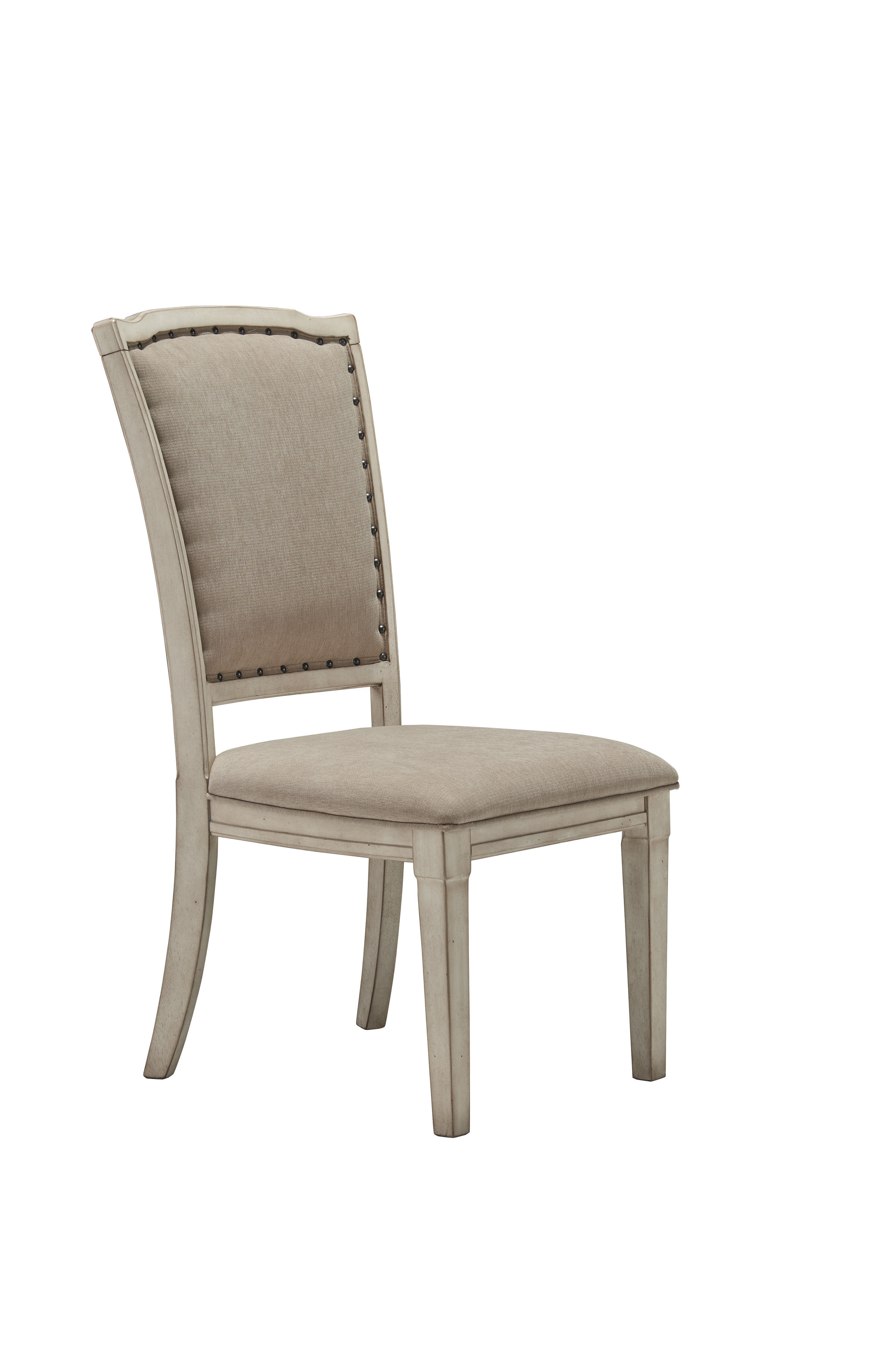 2 demarlos parchment white wood fabric upholstery side for White wood upholstered dining chairs