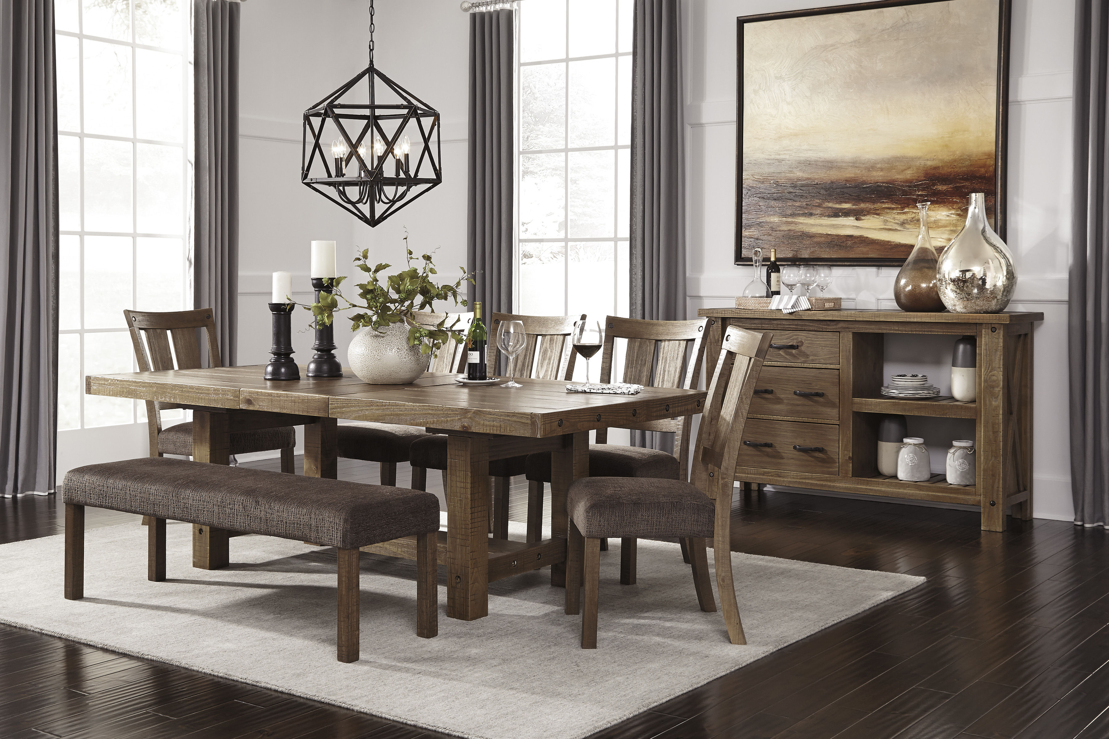 Ashley Furniture Tamilo 8pc Dining Room Set with Bench ...