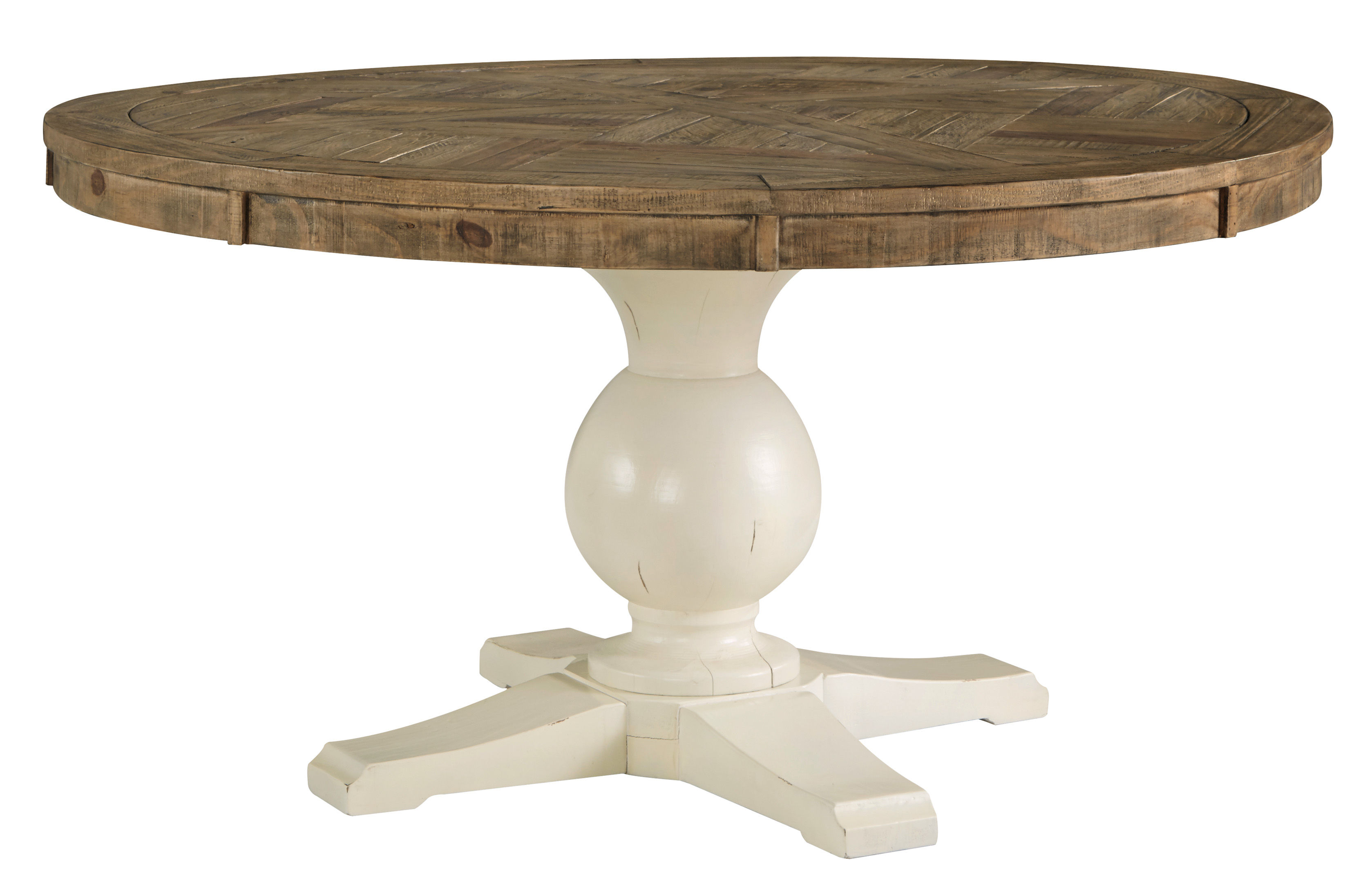 Ashley Furniture Grindleburg Brown White Round Dining Table