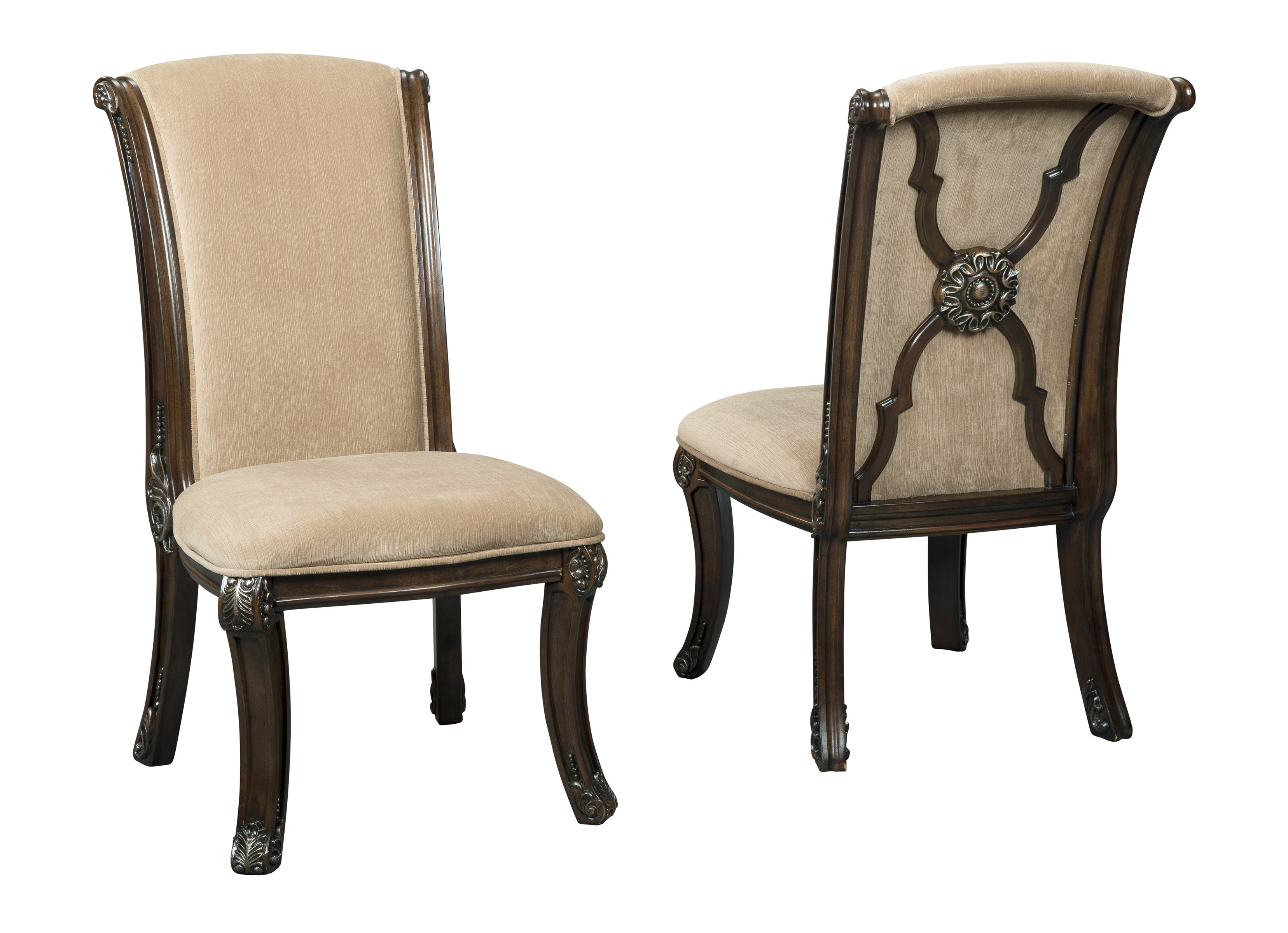 d75bdfbb624ed6 2 Ashley Furniture Valraven Brown Dining Upholstered Side Chairs Click To  Enlarge ...