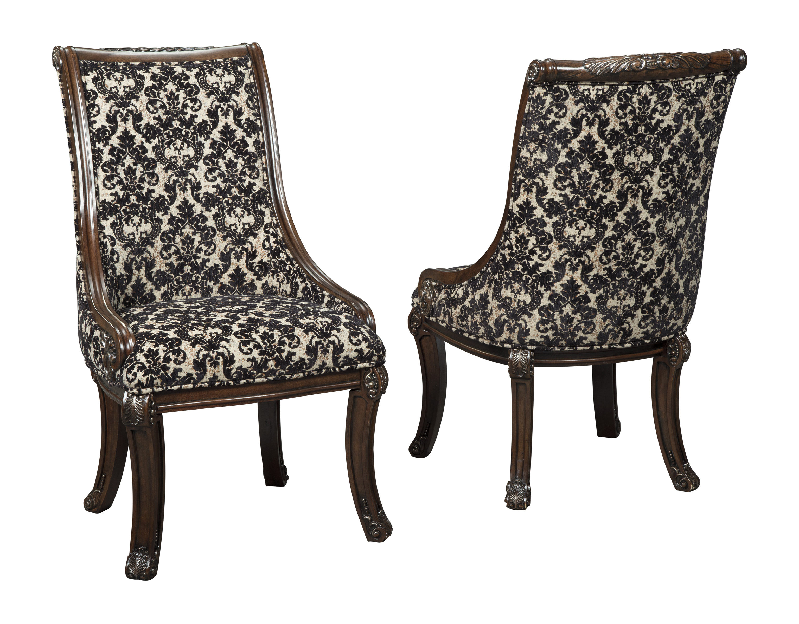 2 Ashley Furniture Valraven Brown Dining Upholstered Arm Chairs Click To Enlarge