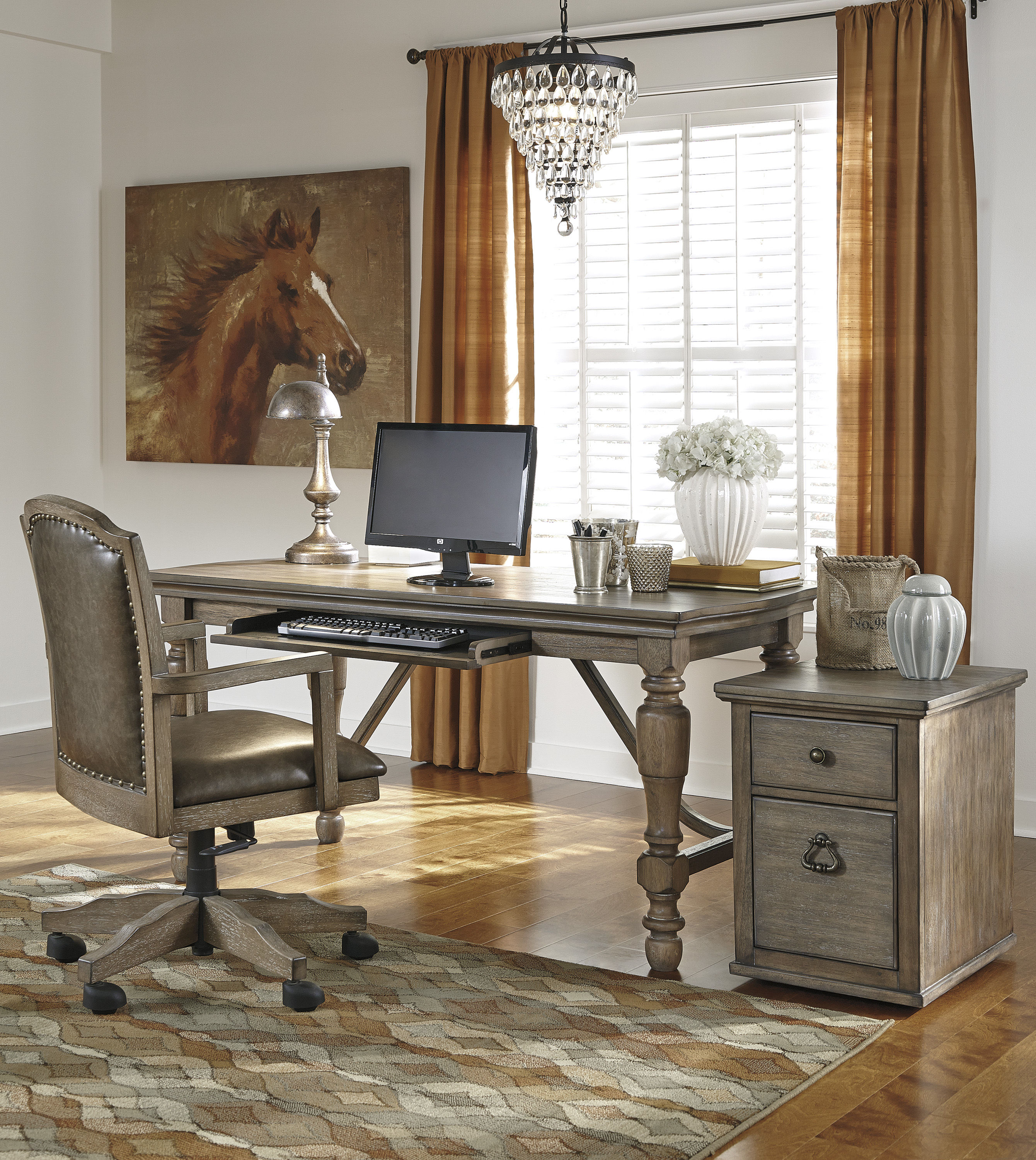 Awe Inspiring Tanshire Wood Faux Leather 3Pc Home Office Furniture Set Interior Design Ideas Clesiryabchikinfo