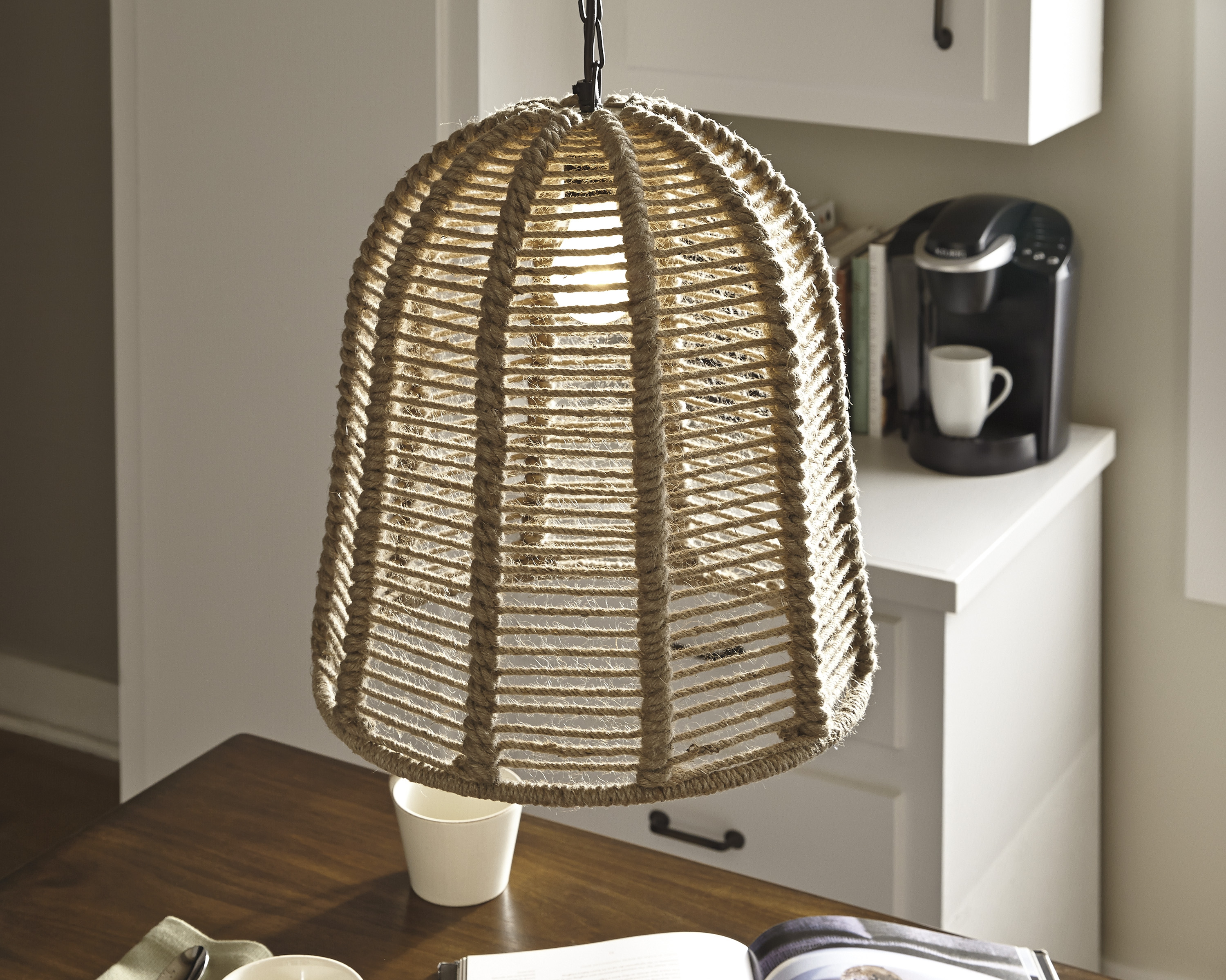 Ashley Furniture Jamarion Natural Rope Pendant Light The