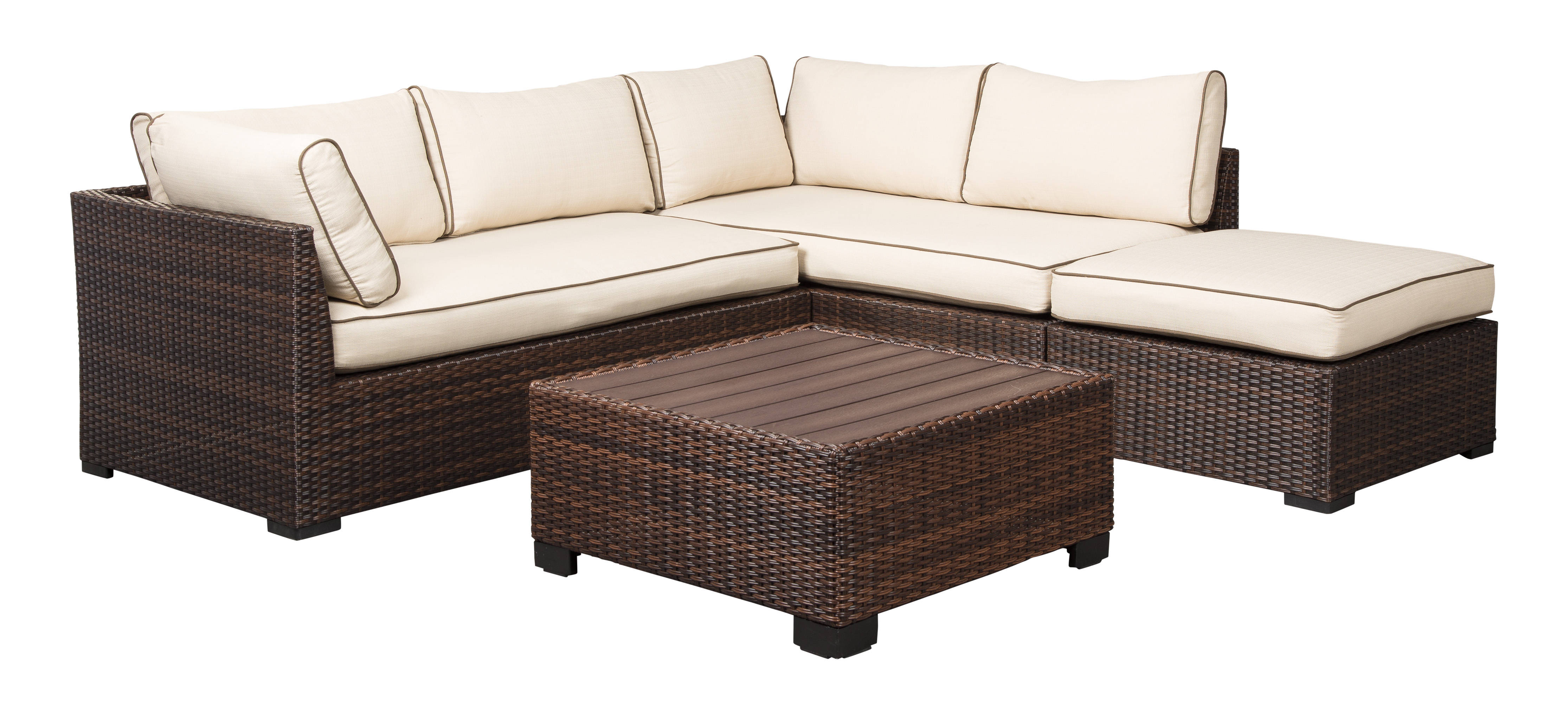 Enjoyable Ashley Furniture Loughran Beige Brown 4Pc Outdoor Sectional Download Free Architecture Designs Aeocymadebymaigaardcom