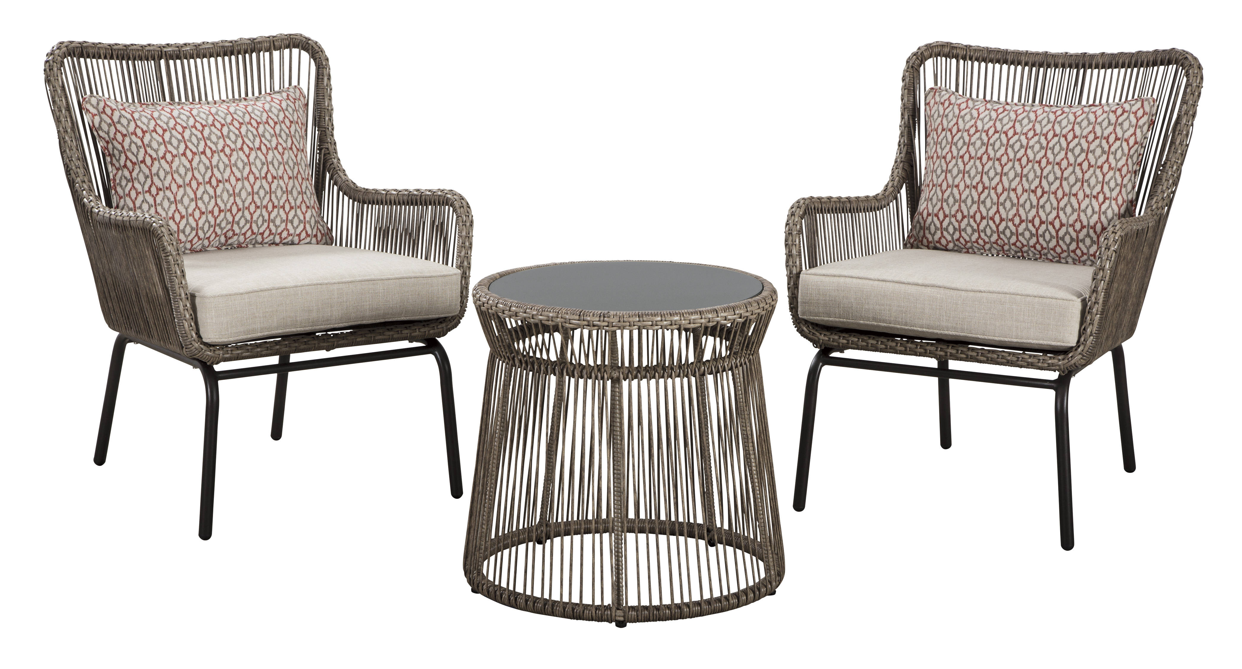 Ashley Furniture Cotton Road Brown 3pc Outdoor Chair And Ottoman Set