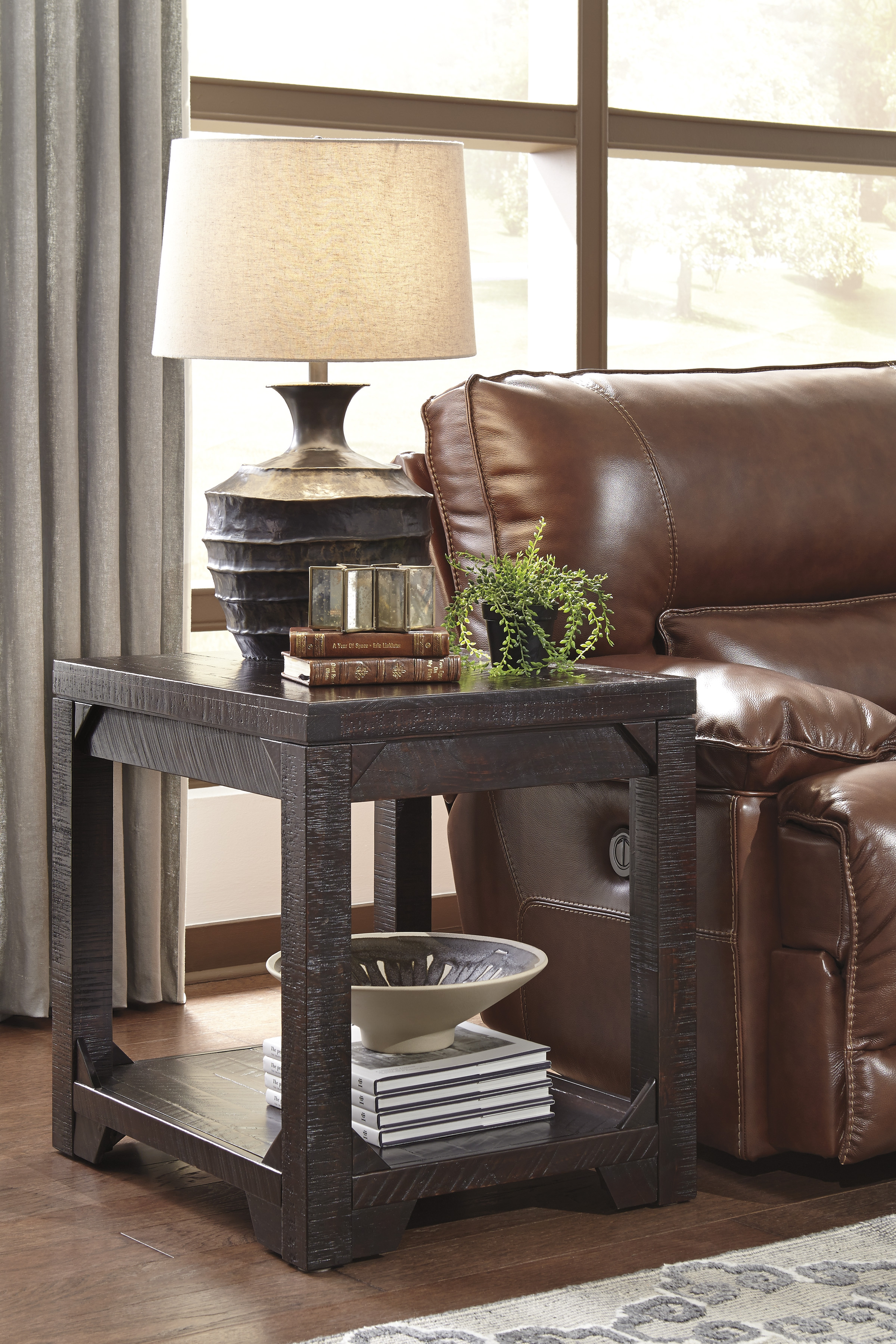 Rogness Vintage Casual Rustic Brown Wood 3pc Coffee Table Set